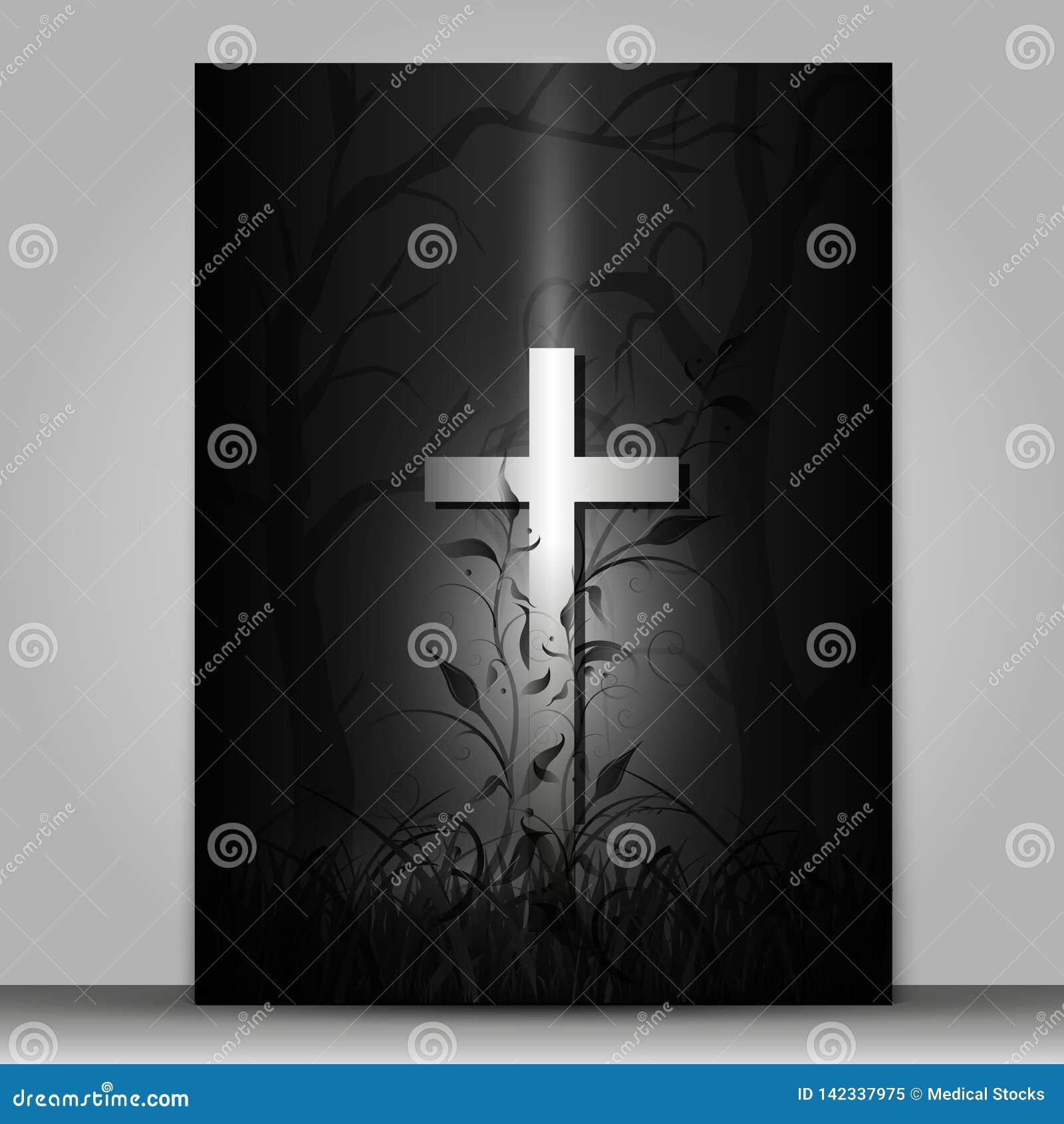 Tarjeta de luto de la cruz del efecto 3d aislada en fondo gris