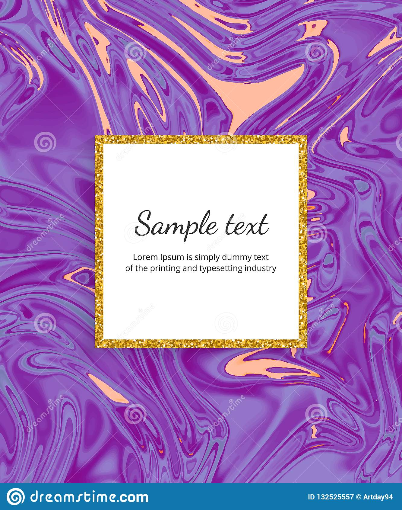 Tarjeta de mármol púrpura líquida de la textura La tinta ondula el fondo del diseño de la acuarela Plantilla flúida de moda para