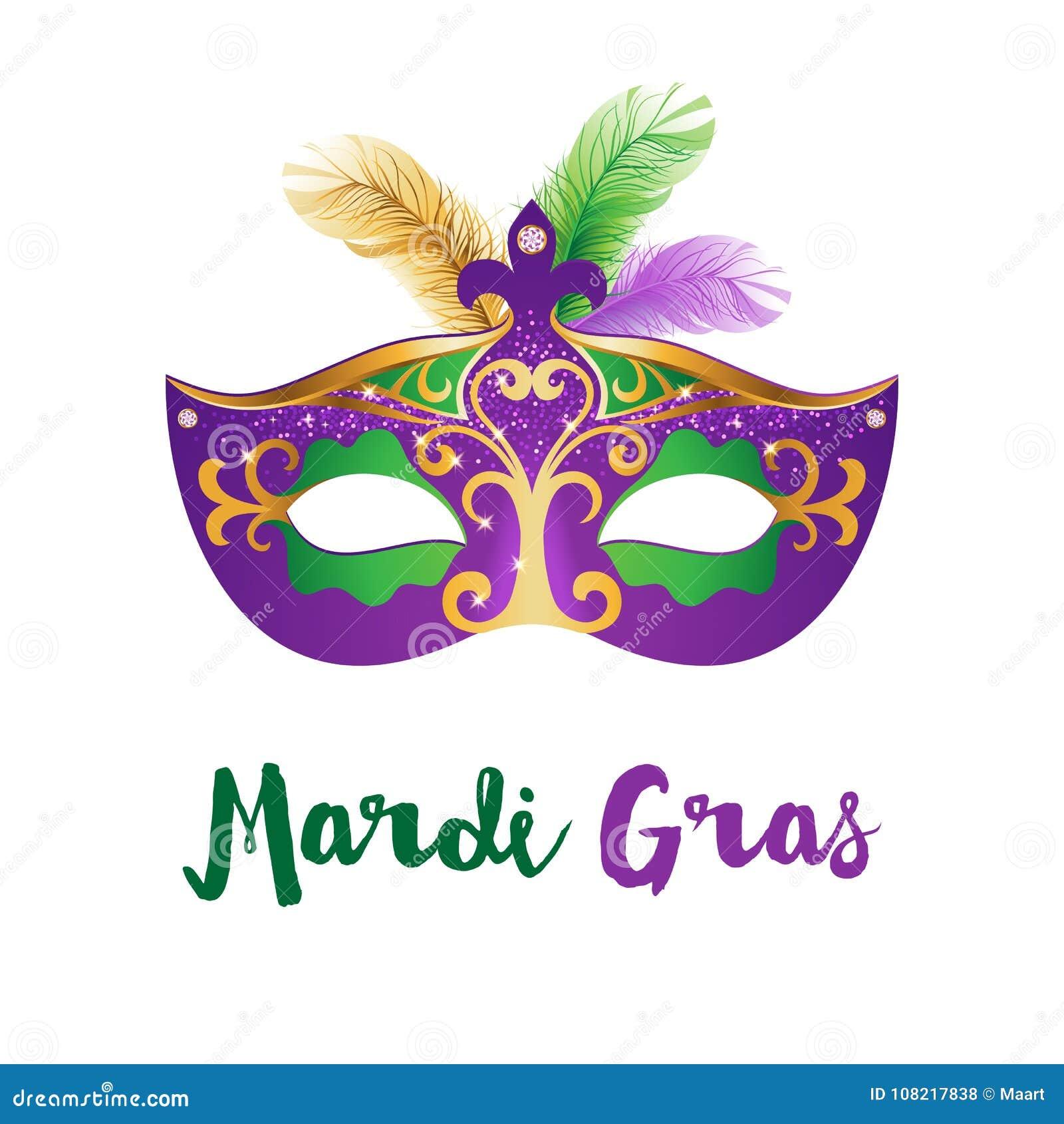 Tarjeta De Mardi Gras Con La Máscara Del Carnaval Ilustración del ...