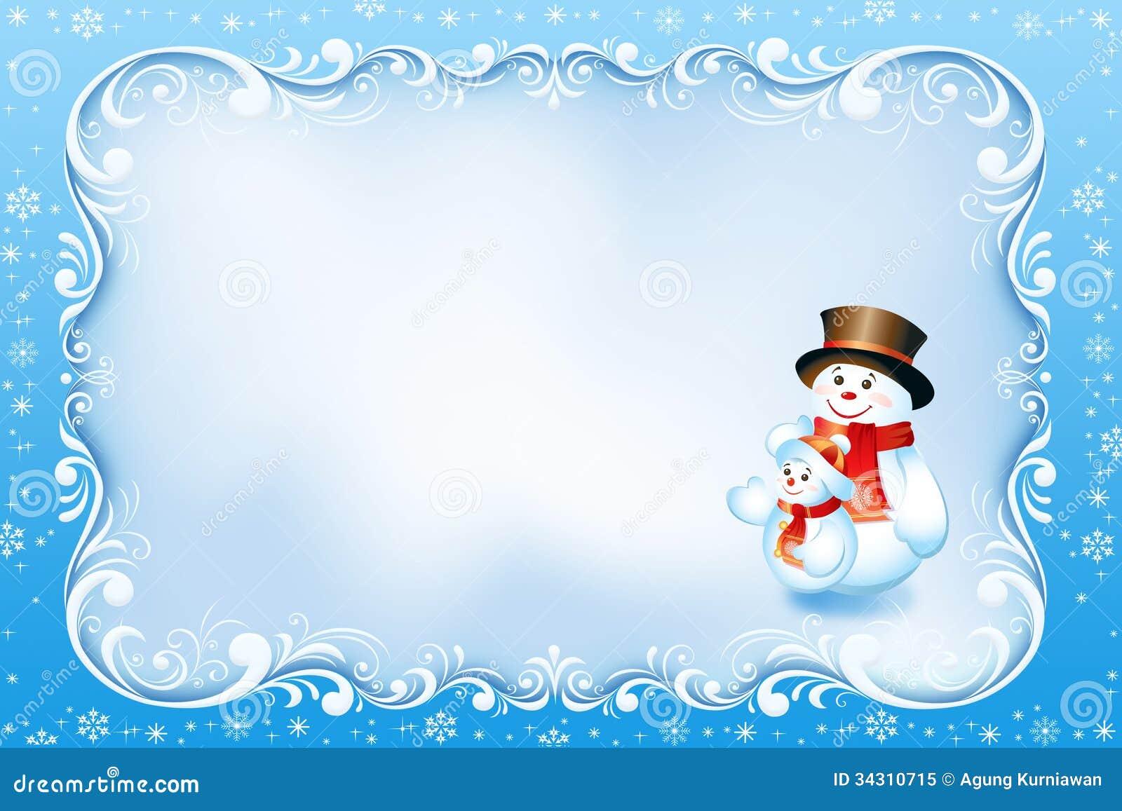 Tarjeta De Navidad Azul Con El Marco Y El Muñeco De Nieve Del ...