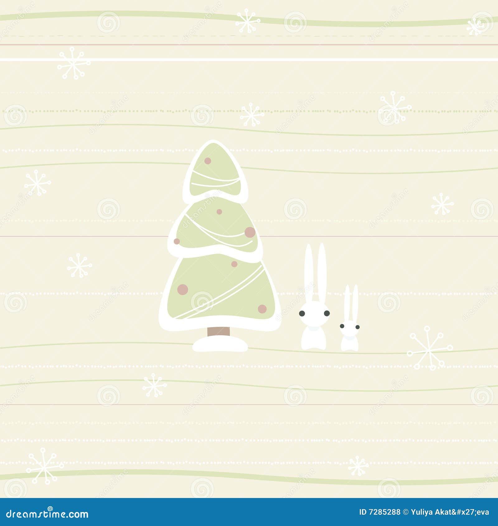Tarjeta de Navidad con el pino y los conejos