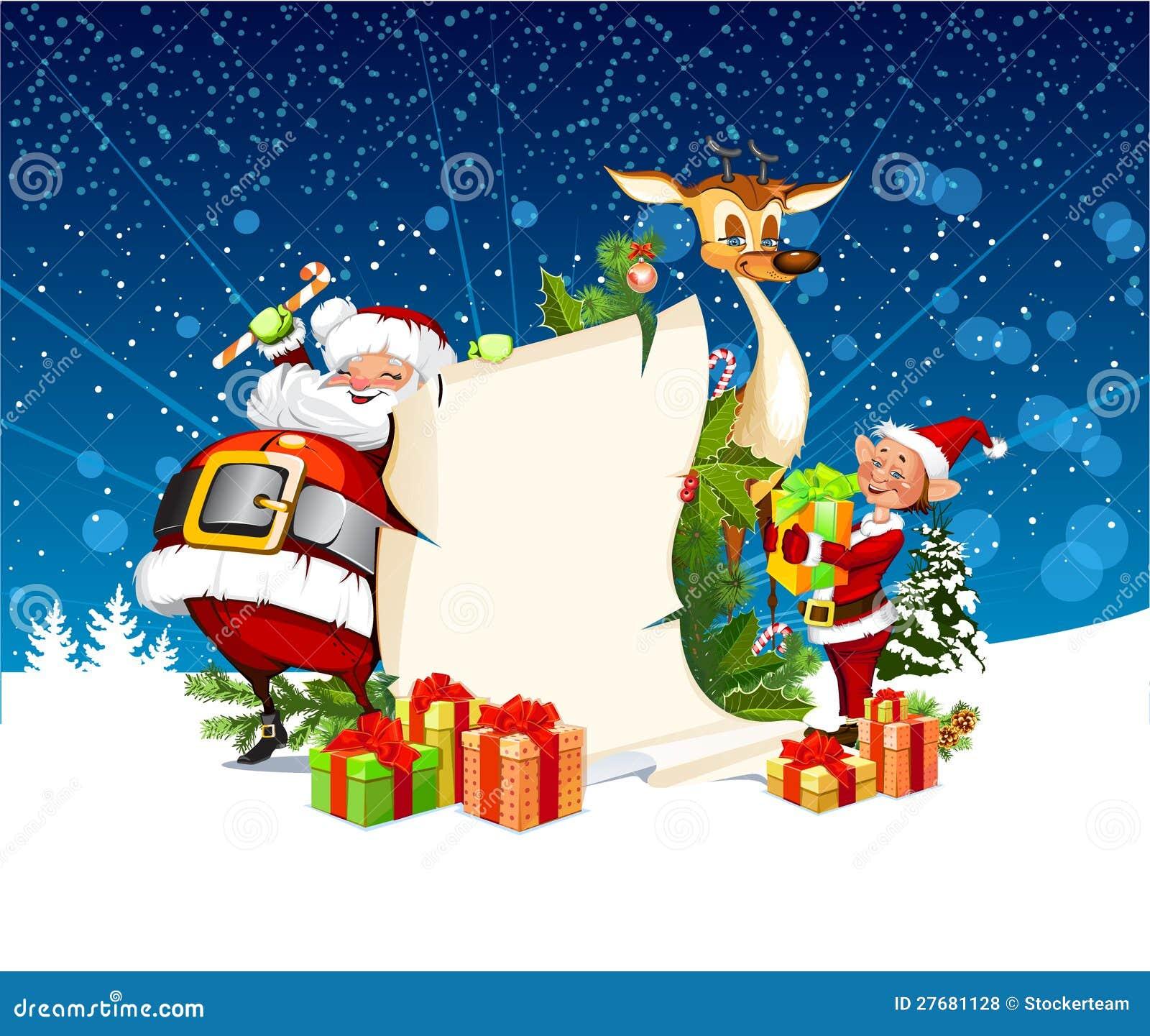 Tarjeta de Navidad con el reno de Papá Noel, duendes