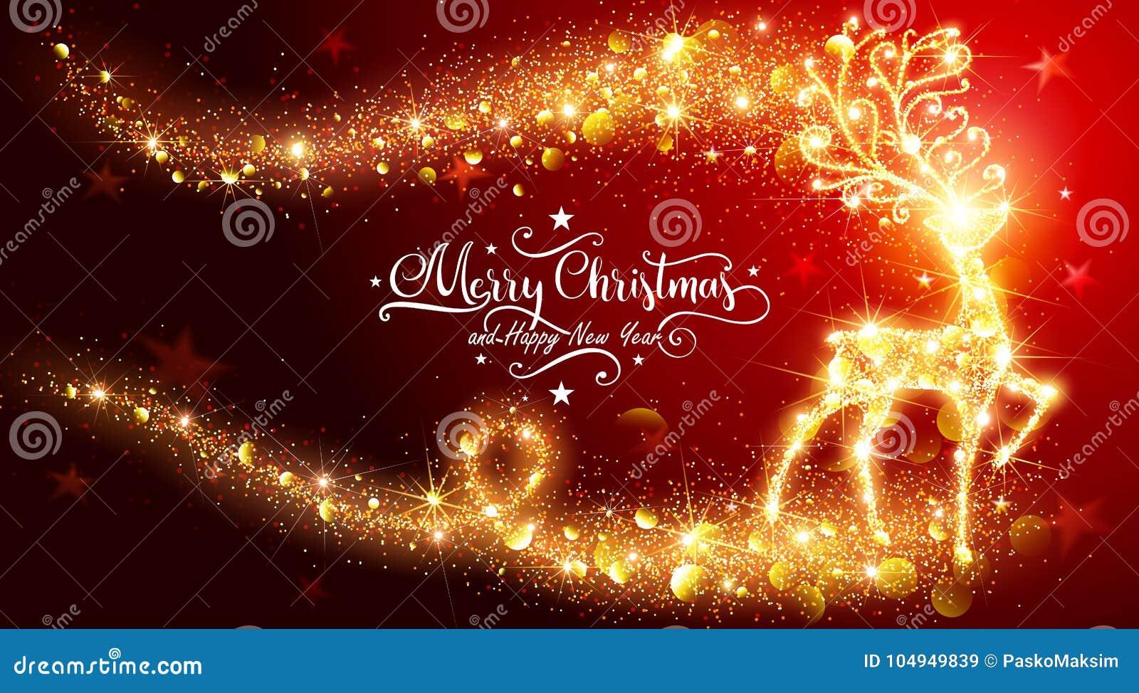 Tarjeta de Navidad con los ciervos mágicos brillantes
