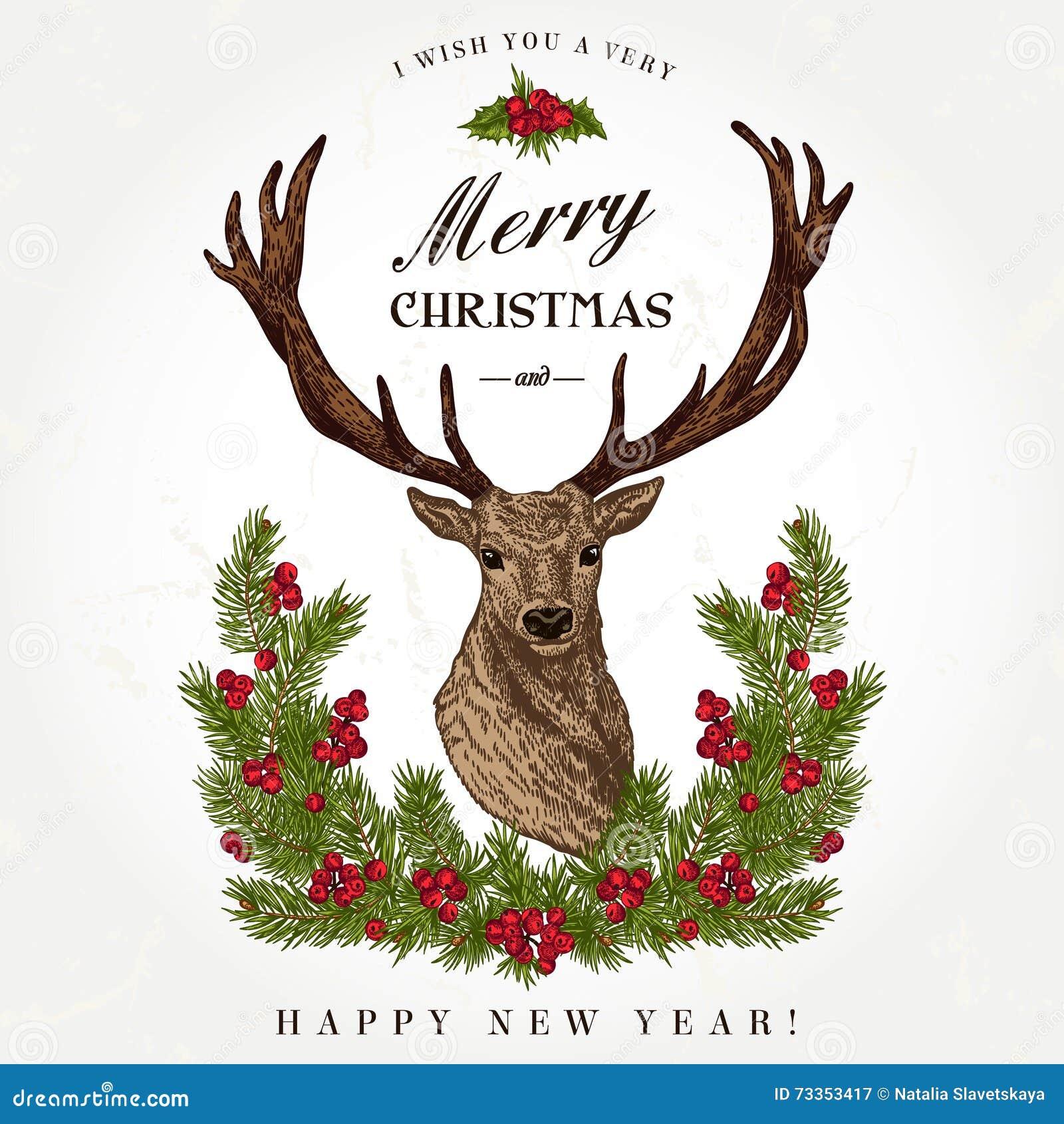 tarjeta de navidad con un ciervo ilustraci n del vector