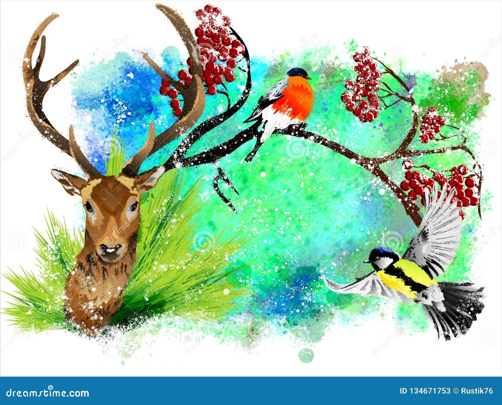 Tarjeta de Navidad con un ciervo y un piñonero en un fondo abstracto colorido