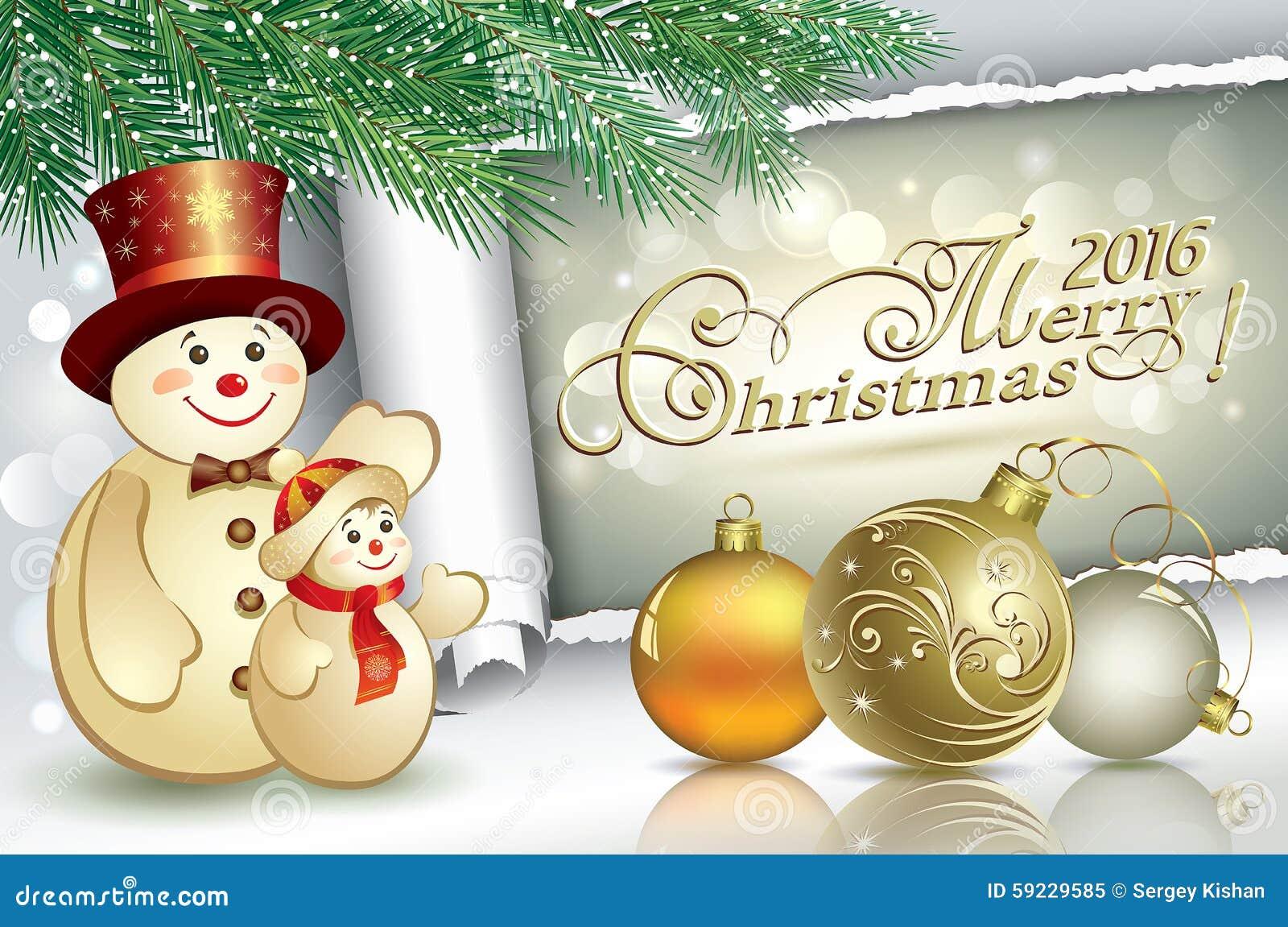 Download Tarjeta De Navidad 2016 Con Un Muñeco De Nieve Ilustración del Vector - Ilustración de feliz, paisaje: 59229585