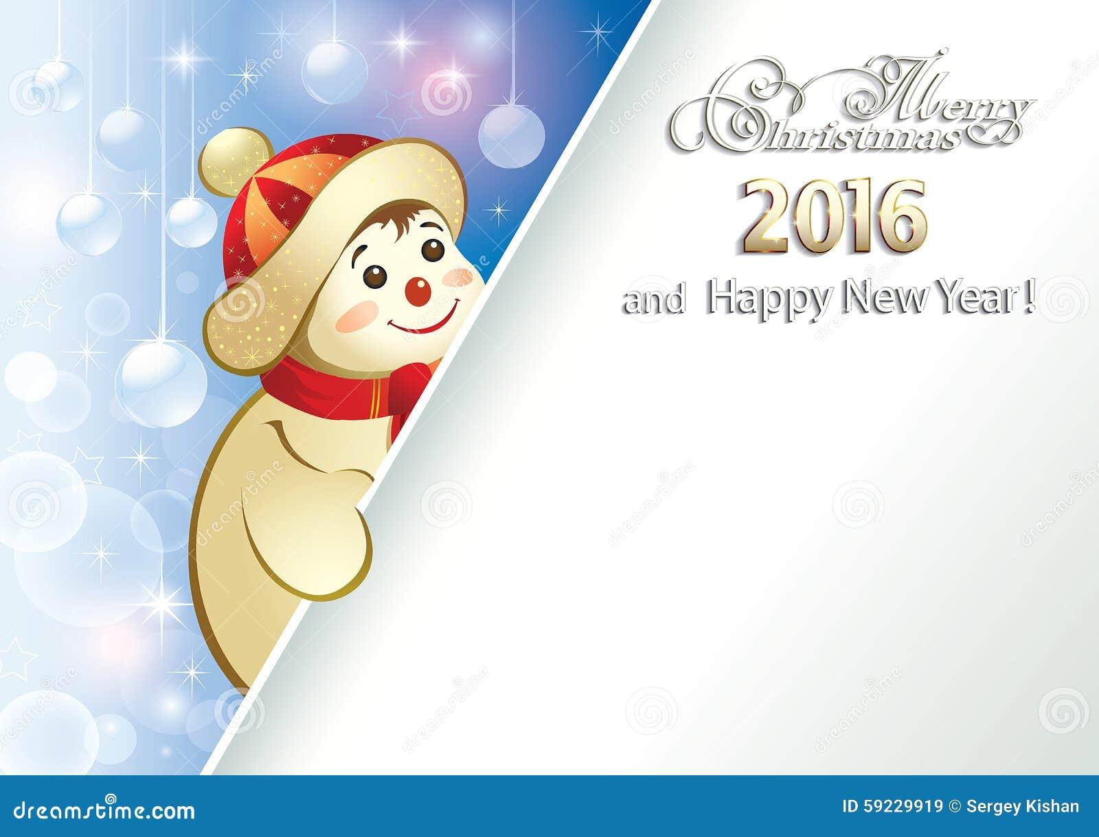 Download Tarjeta De Navidad Con Un Muñeco De Nieve Alegre Ilustración del Vector - Ilustración de diciembre, cartel: 59229919