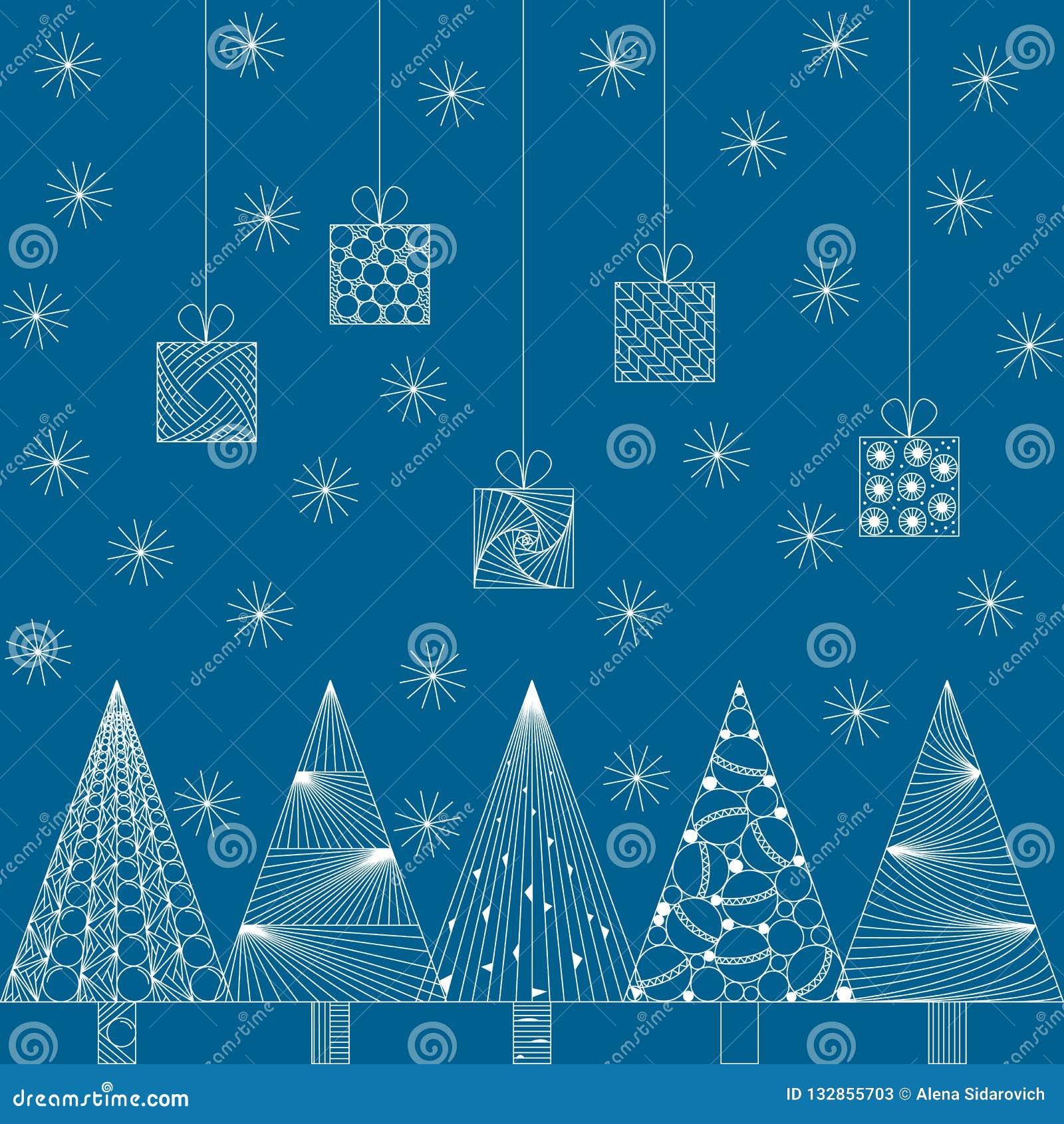 Tarjeta de Navidad del Año Nuevo y en el estilo del zenart, modelos blancos en a