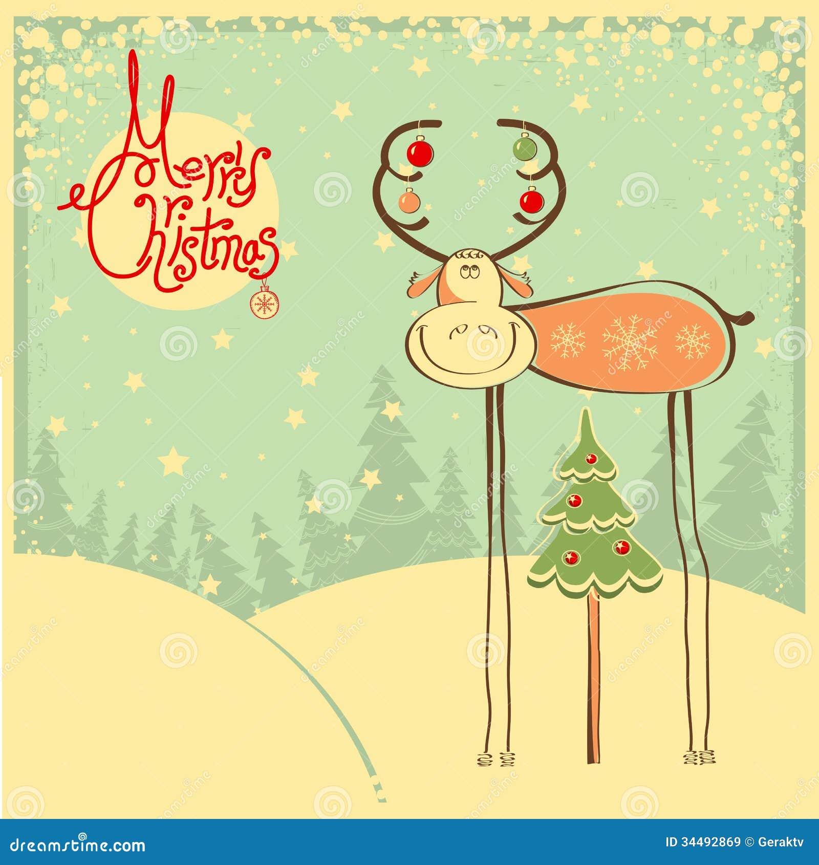 tarjeta de navidad del vintage con el toro y la nieve divertidos franco imgenes de archivo