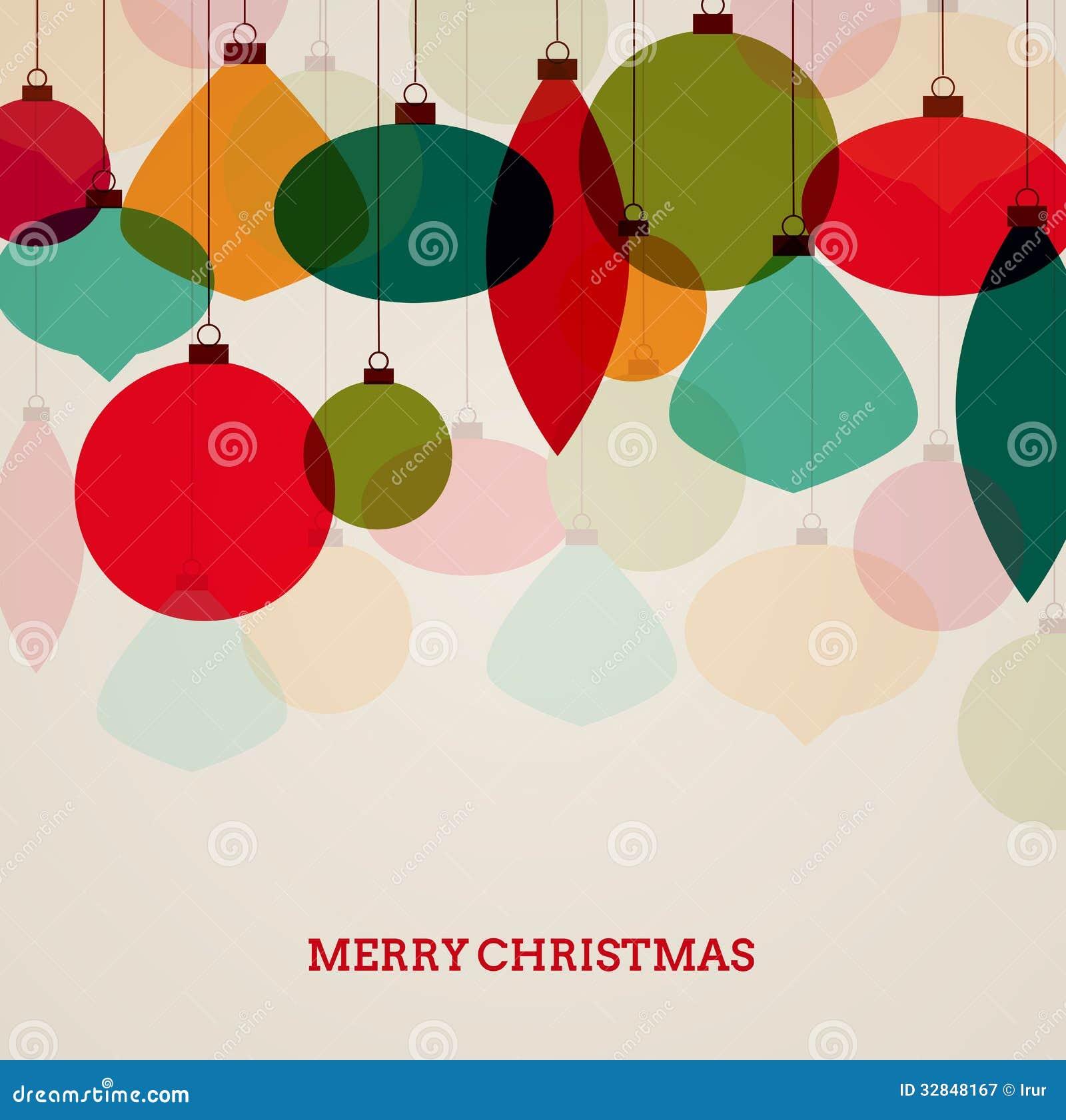 Tarjeta de Navidad del vintage con las decoraciones coloridas