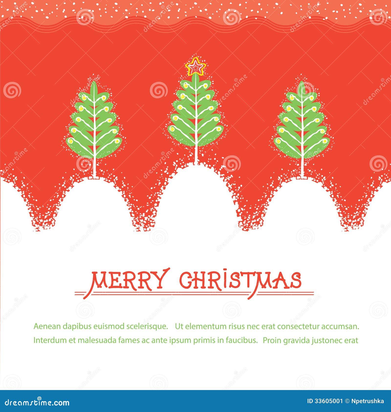 Tarjeta de Navidad. Illusrtration rojo del vector con los árboles