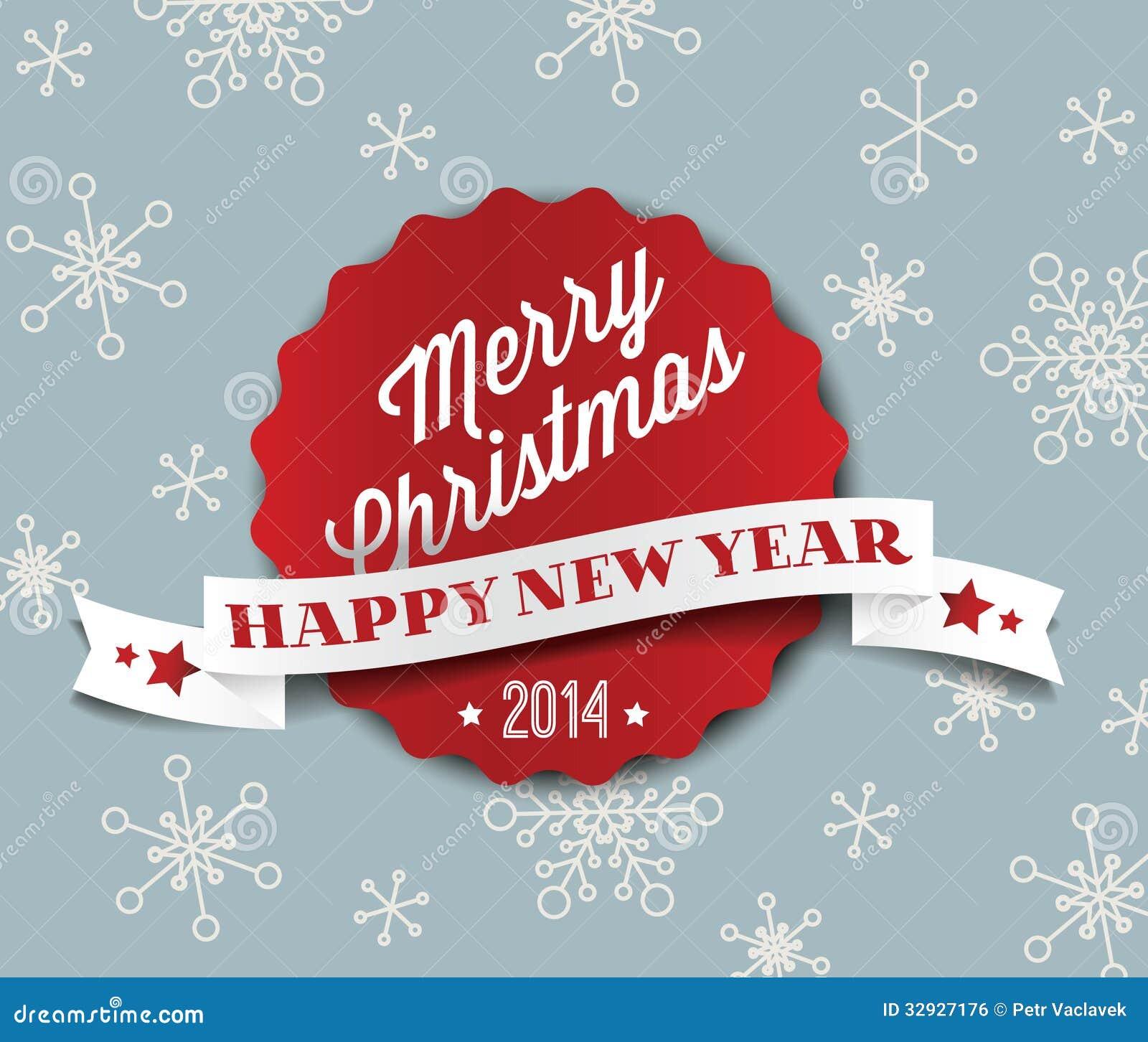Tarjeta de Navidad retra del vector del vintage simple 2014