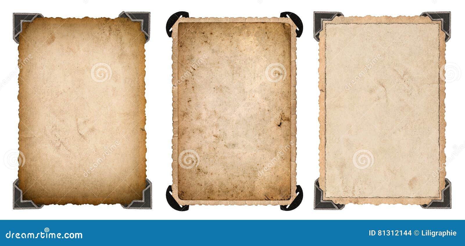 Tarjeta de papel de la foto vieja con el marco del vintage de la esquina y de los bordes