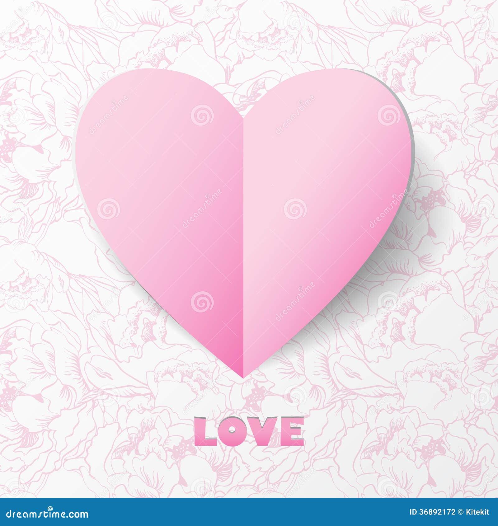 Tarjeta De Papel Del Amor Del Corazón En Antecedentes De La Flor ...