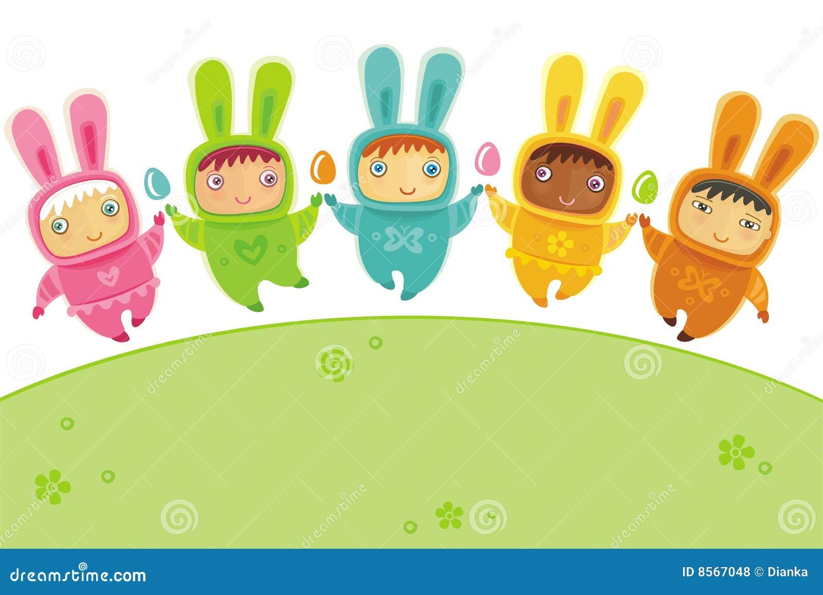 Tarjeta de pascua con los conejitos del bebé