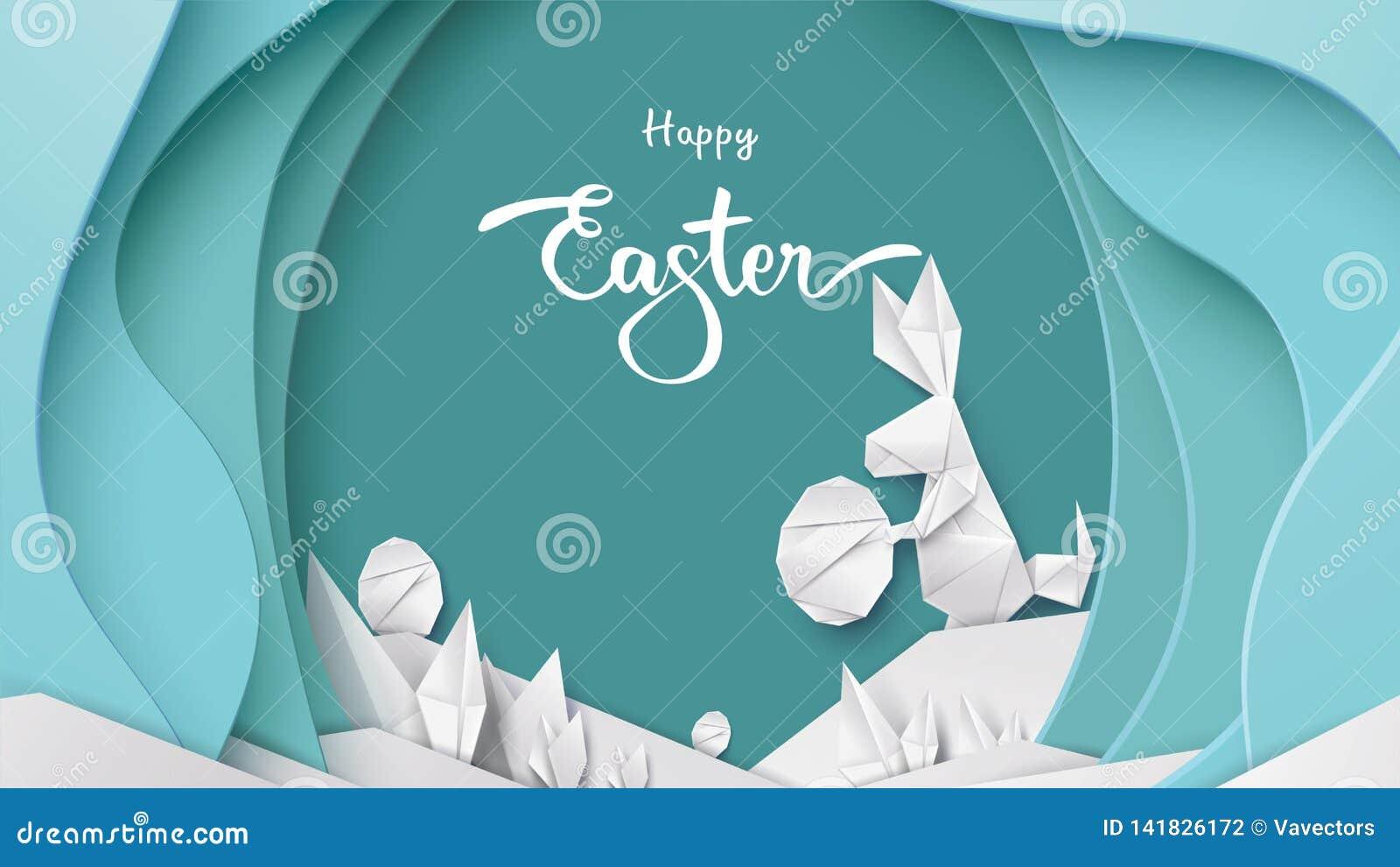 Tarjeta de pascua feliz con forma del conejo de conejito, huevos en fondo en colores pastel moderno colorido Espacio de la copia