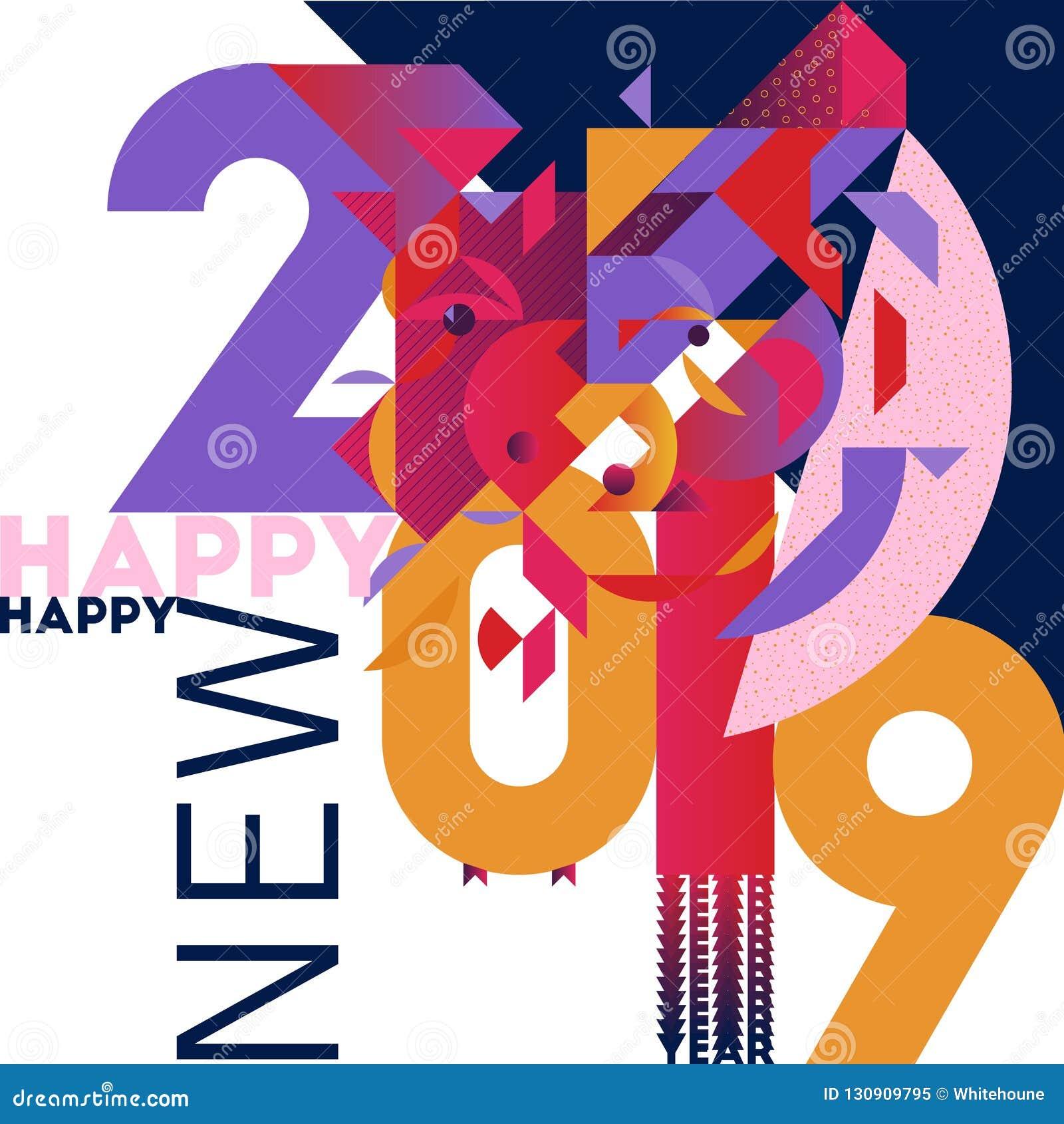Tarjeta de saludo colorida y elegante de moda del Año Nuevo