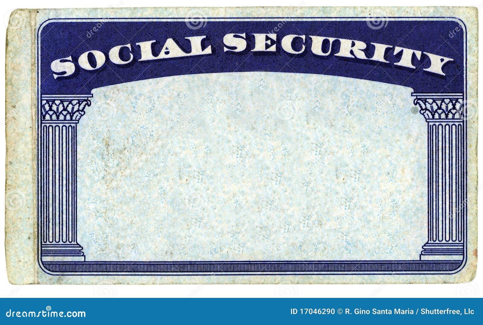 Tarjeta de Seguridad Social americana en blanco