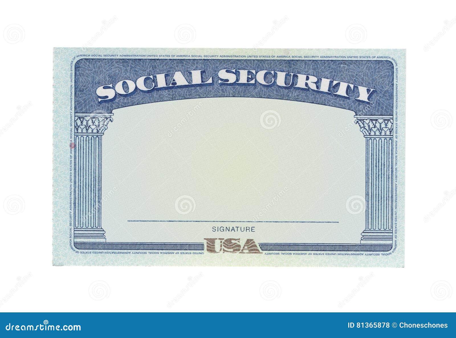 Tarjeta de Seguridad Social en blanco