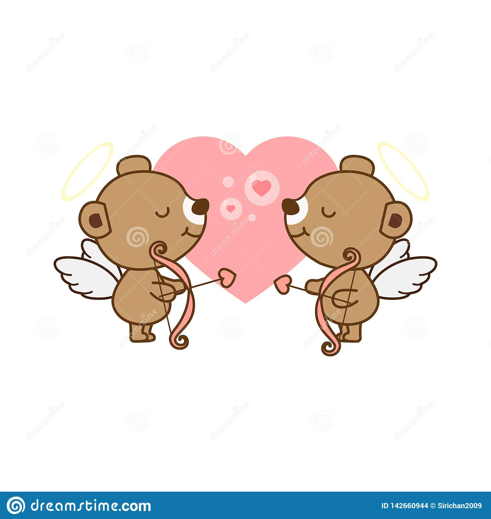 Tarjeta de Valentine Greeting Angel Bear lindo con el corazón Ilustración del vector