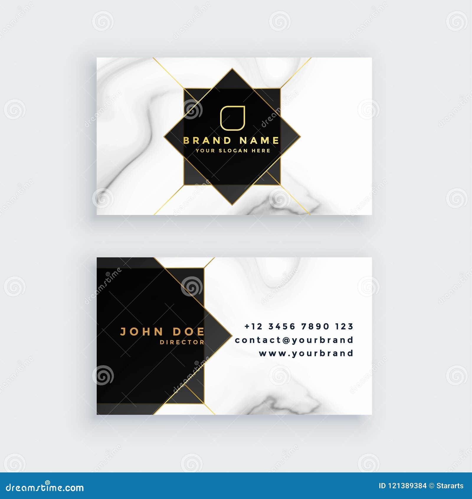 Tarjeta de visita blanco y negro del estilo de mármol de lujo