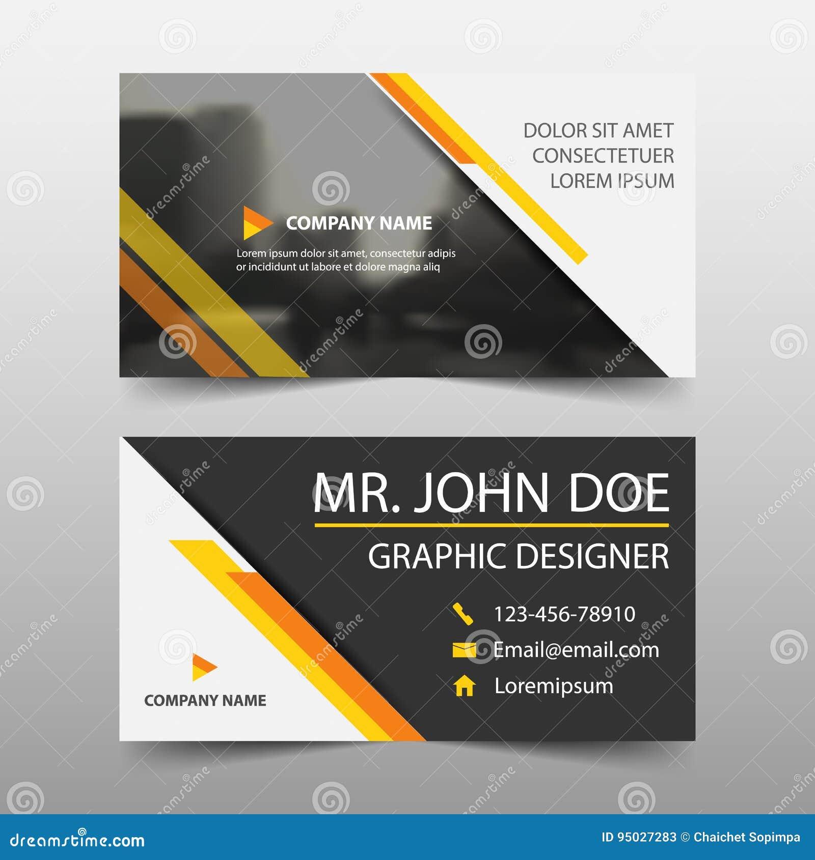Tarjeta de visita corporativa amarilla, plantilla de la tarjeta de presentación, plantilla limpia simple horizontal del diseño de