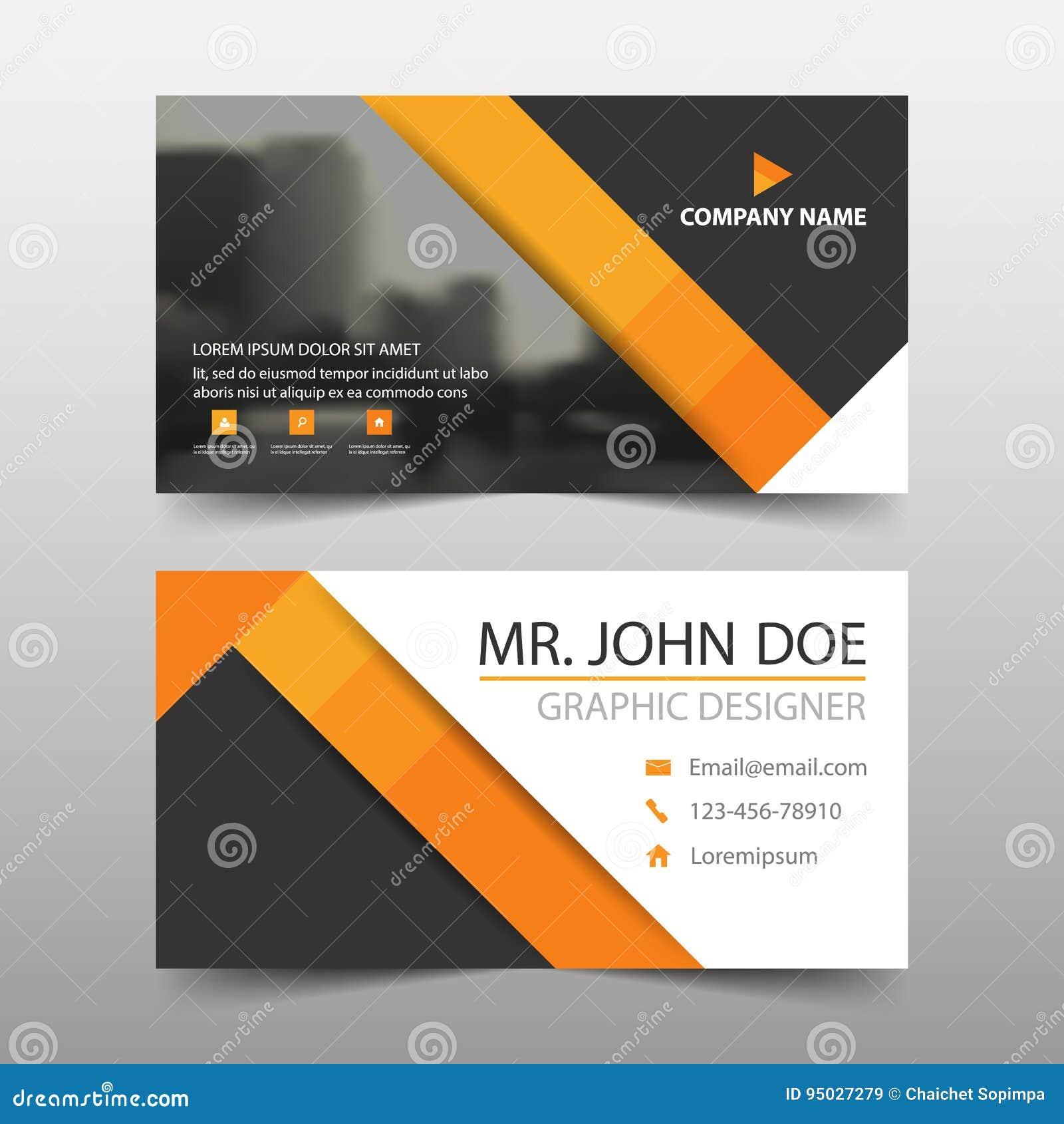 Tarjeta de visita corporativa anaranjada del triángulo, plantilla de la tarjeta de presentación, plantilla limpia simple horizont