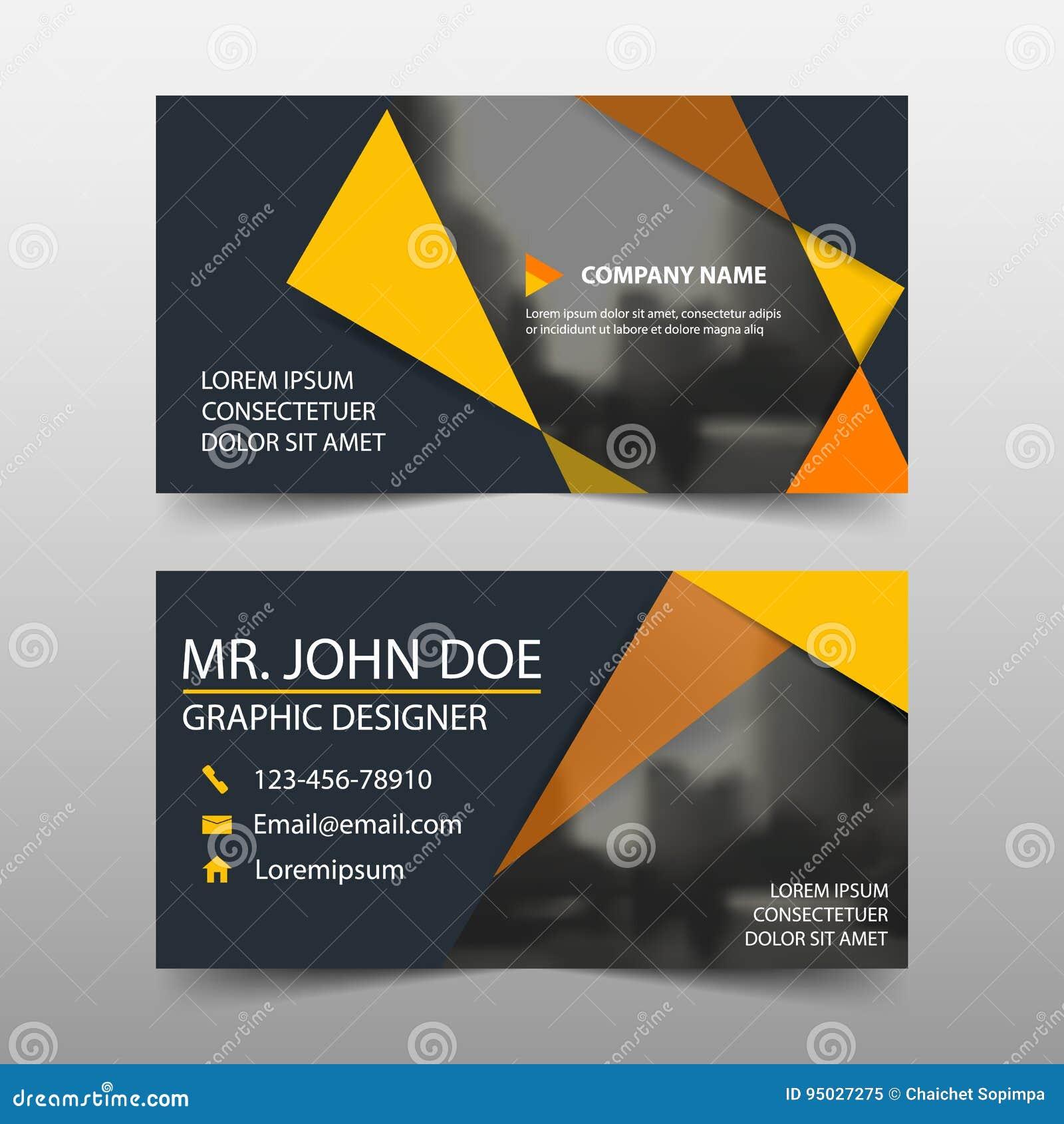Tarjeta de visita corporativa anaranjada, plantilla de la tarjeta de presentación, plantilla limpia simple horizontal del diseño