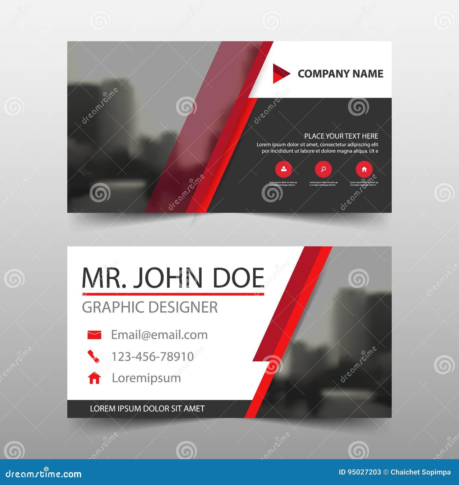 Tarjeta de visita corporativa negra roja, plantilla de la tarjeta de presentación, plantilla limpia simple horizontal del diseño