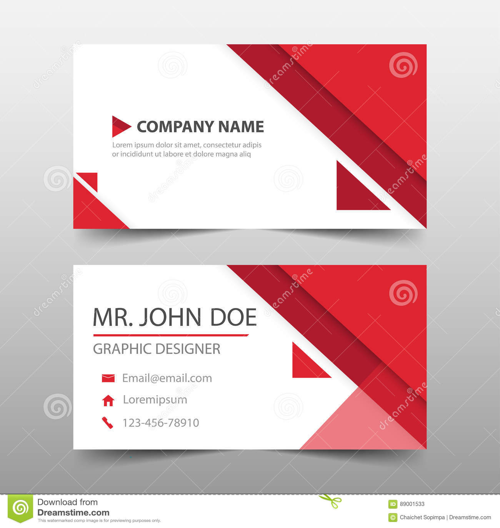 Tarjeta de visita corporativa roja del triángulo, plantilla de la tarjeta de presentación, plantilla limpia simple horizontal del
