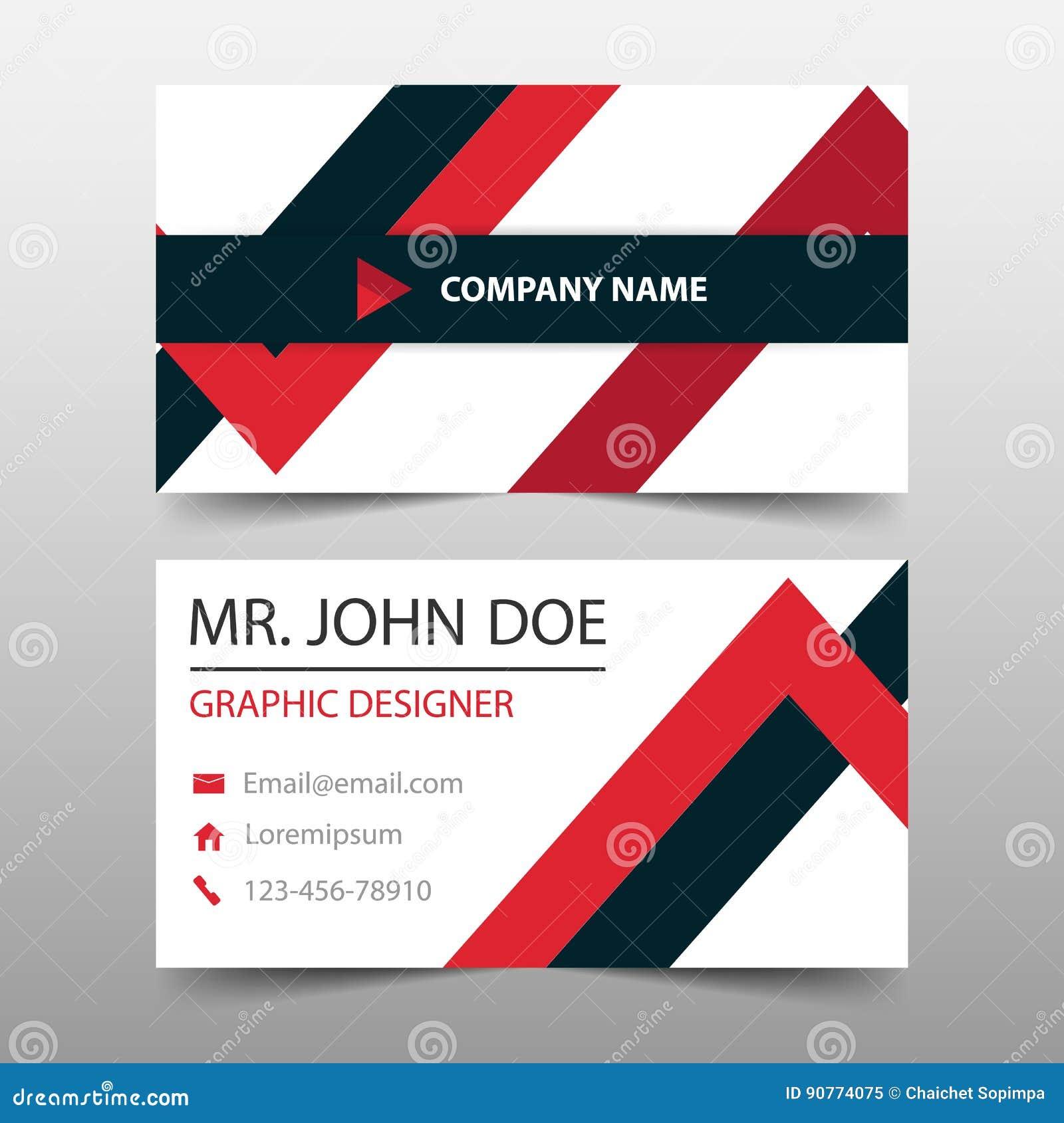 tarjeta de visita corporativa roja del triángulo plantilla de la