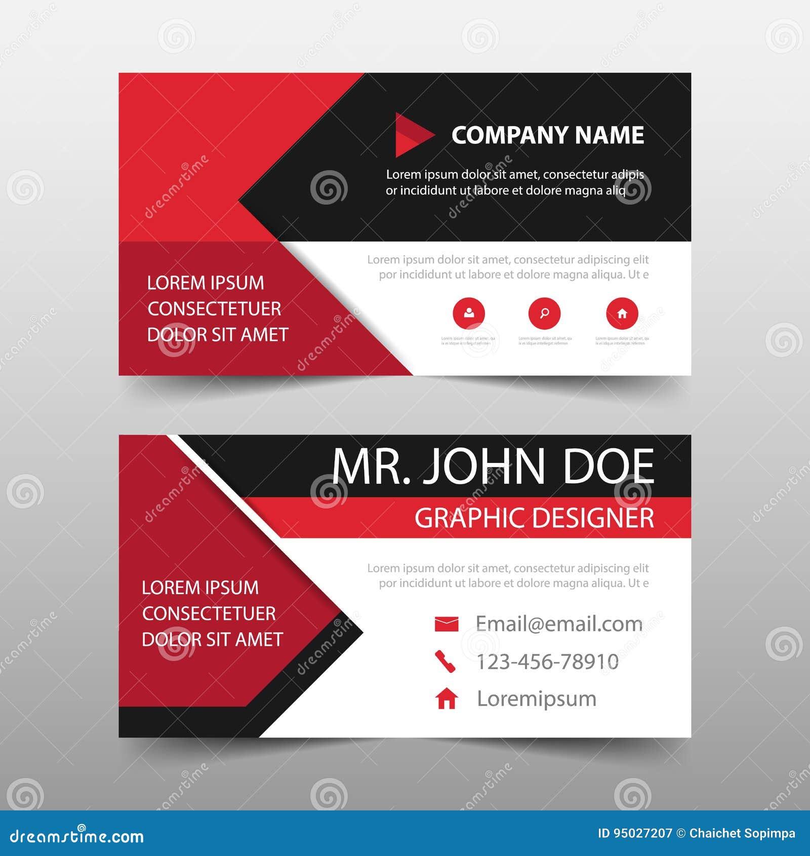 Tarjeta de visita corporativa roja, plantilla de la tarjeta de presentación, plantilla limpia simple horizontal del diseño de la