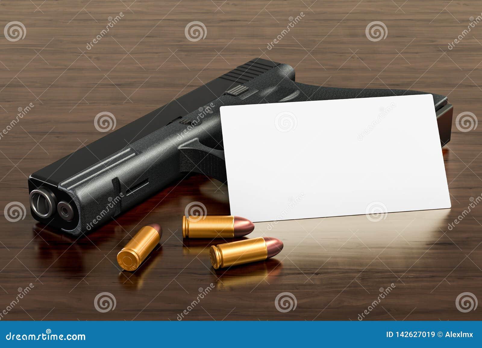 Tarjeta de visita en blanco para la tienda de armas o la tienda del arma de fuego en el fondo de madera del escritorio representa