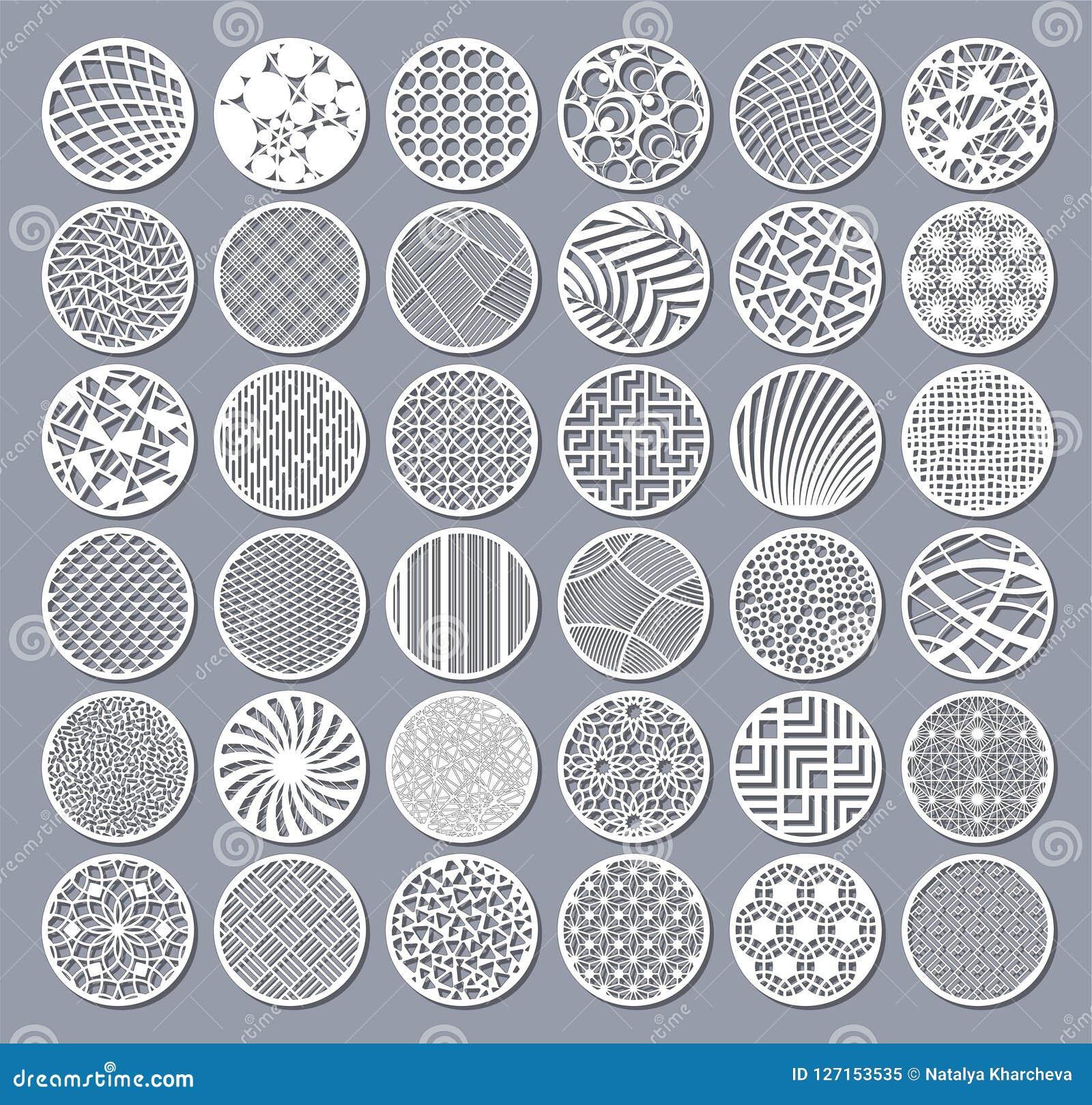 Tarjeta decorativa determinada del círculo para cortar Modelo linear geométrico abstracto redondo Corte del laser Ilustración del