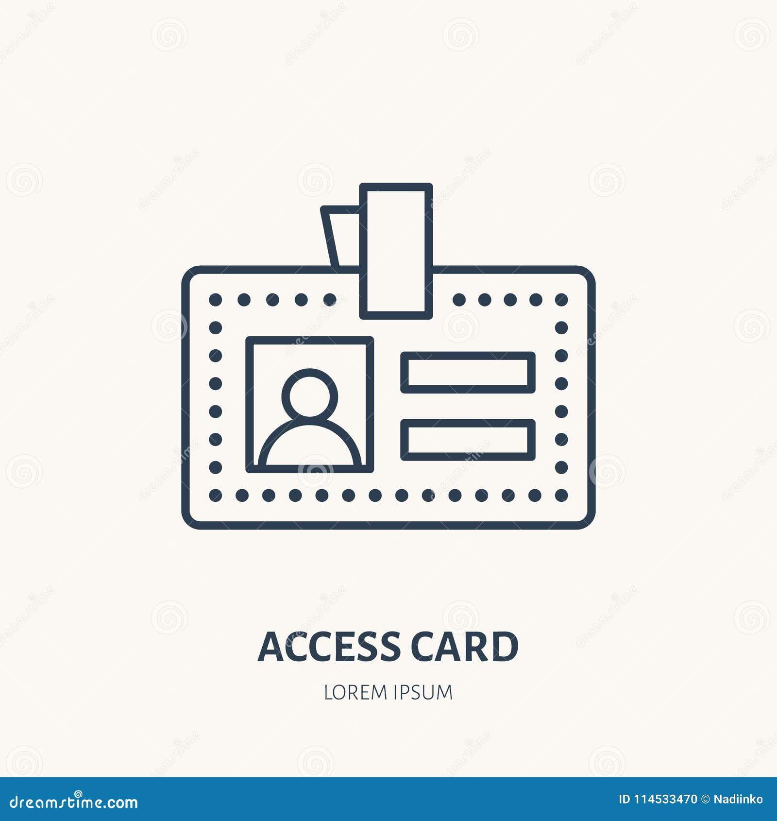 Tarjeta del acceso del empleado, línea plana icono del vector de la identidad Documento de la identificación, muestra de la insig