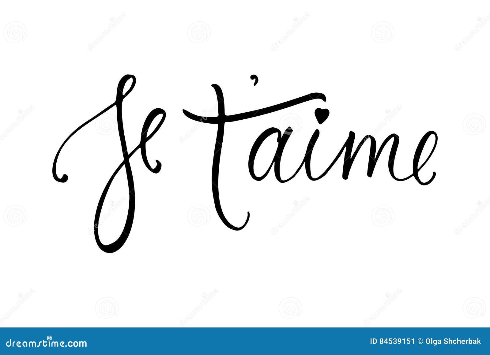 Tarjeta Del Aime Del De Je T Te Amo En Francés Caligrafía