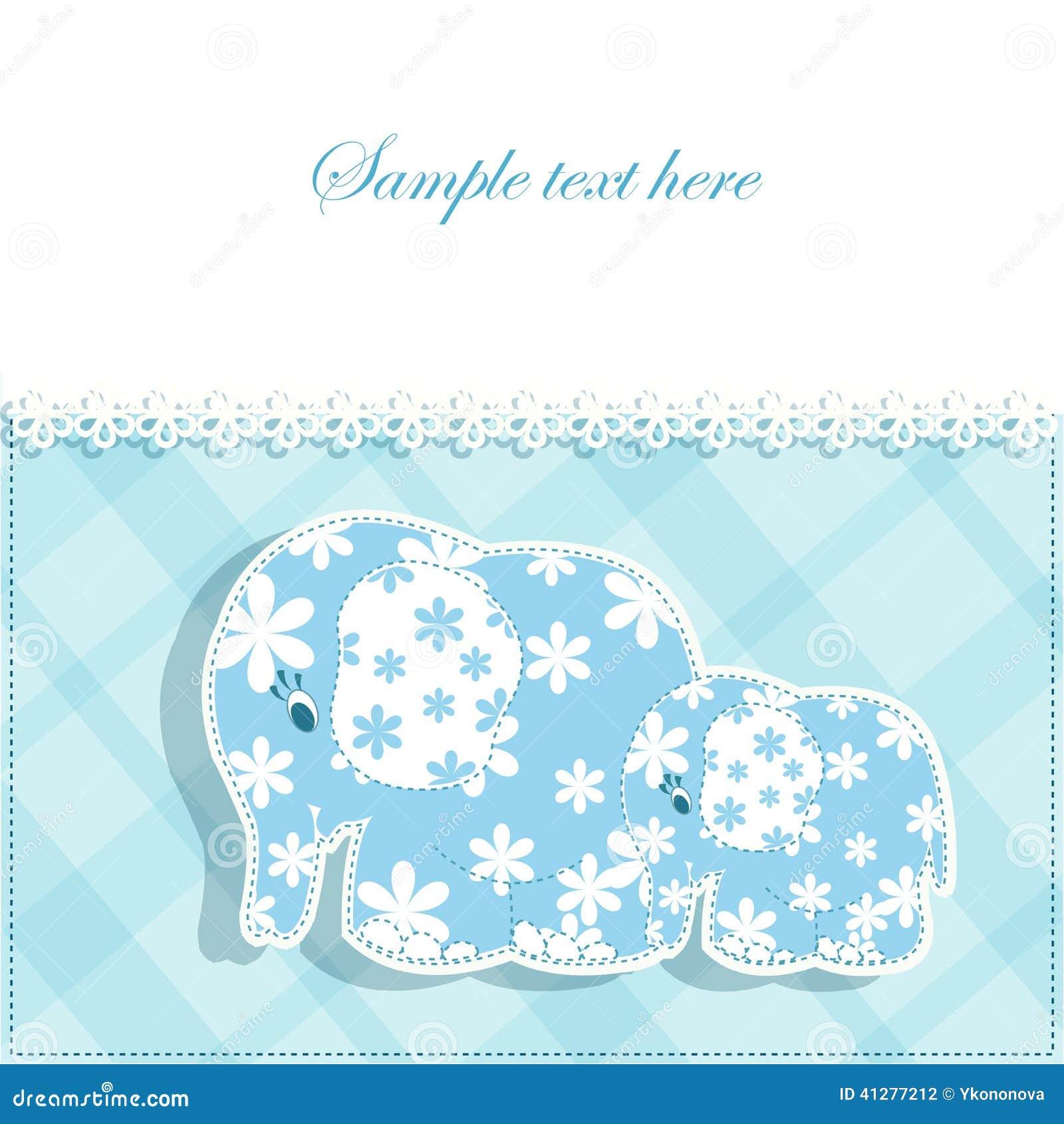 Tarjeta del beb con los elefantes ilustraci n del vector - Fotos de elefantes bebes ...