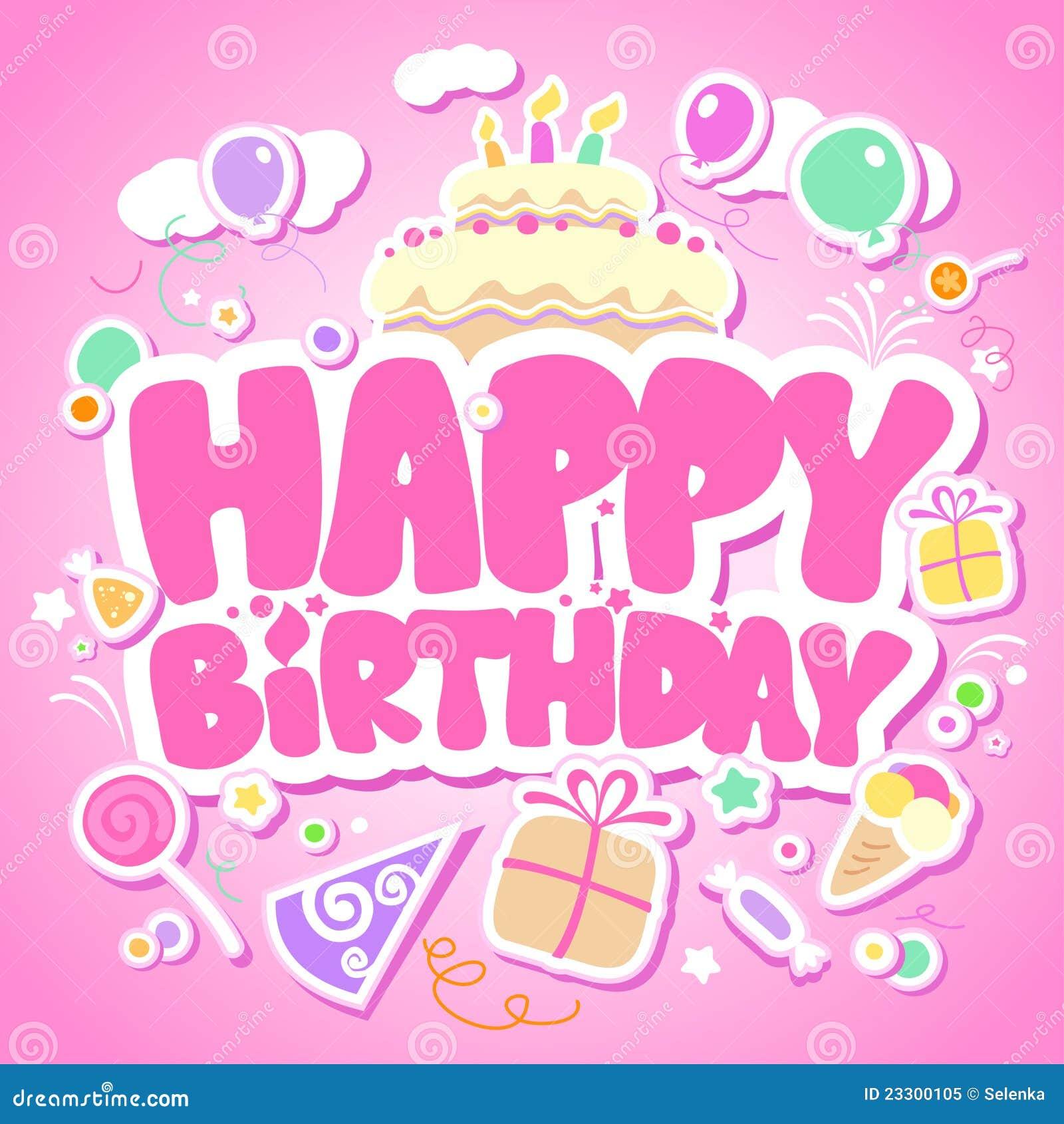 Tarjeta del color de rosa del feliz cumpleaños.
