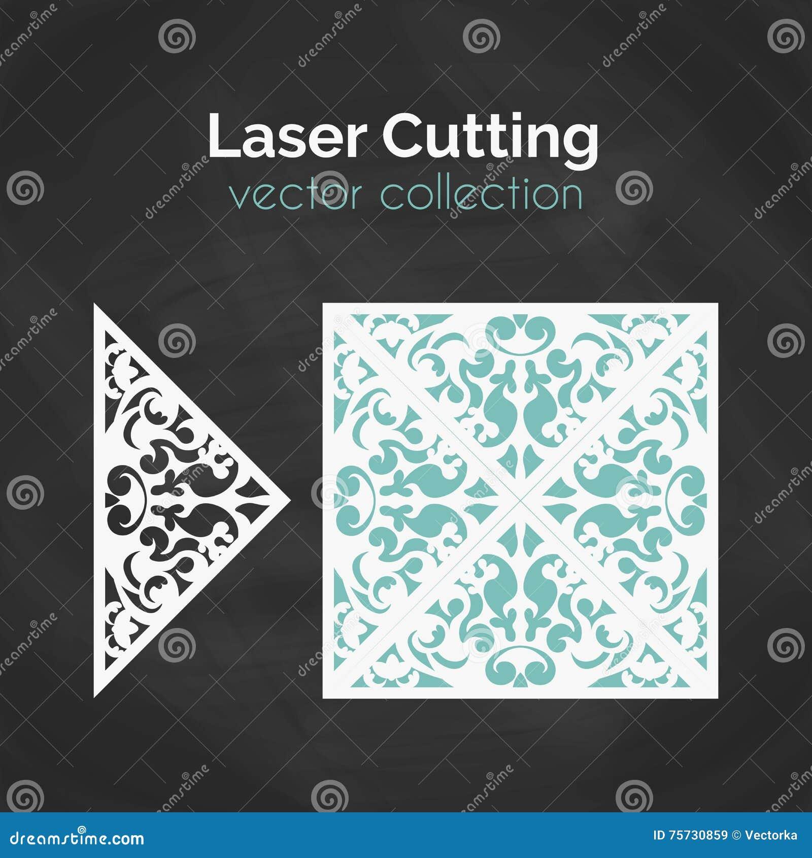 Tarjeta del corte del laser Plantilla para el corte del laser Ejemplo del recorte con la decoración abstracta Cortado con tintas