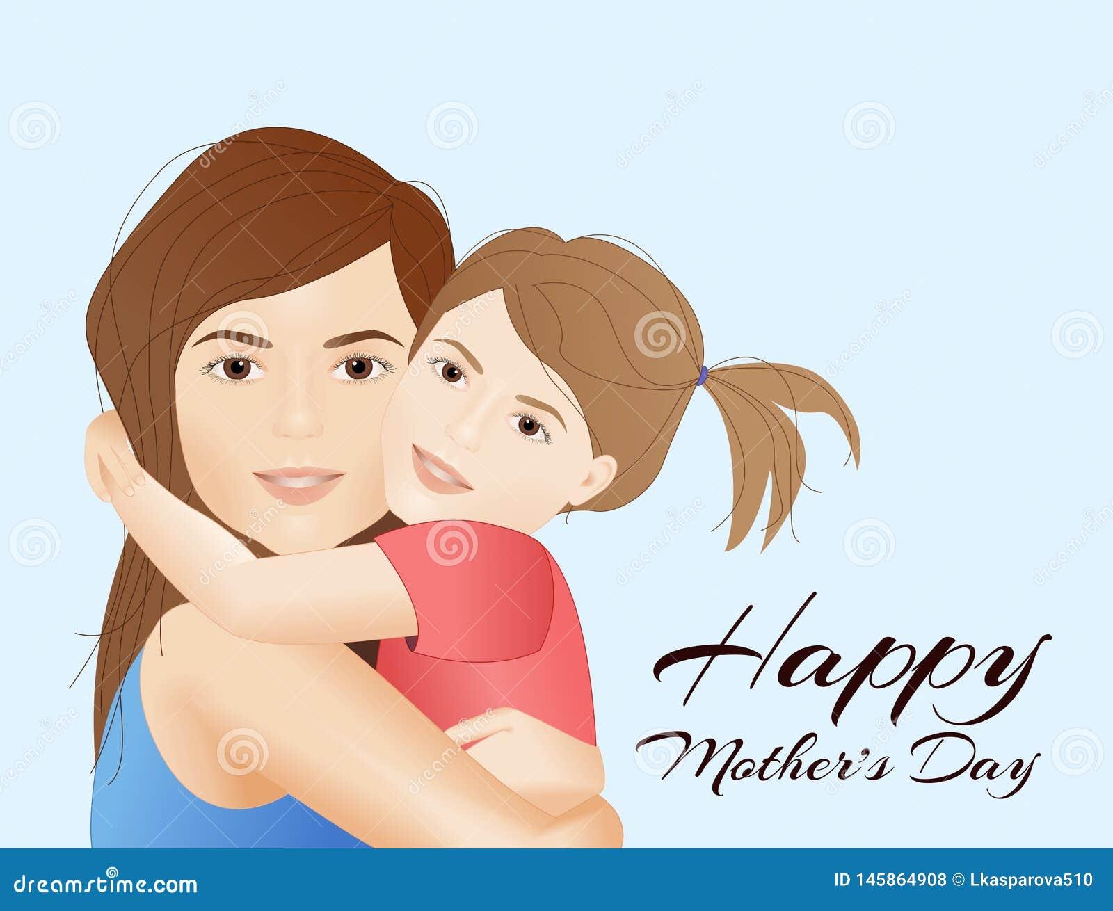Tarjeta del día de madres con el niño de la tenencia de la madre