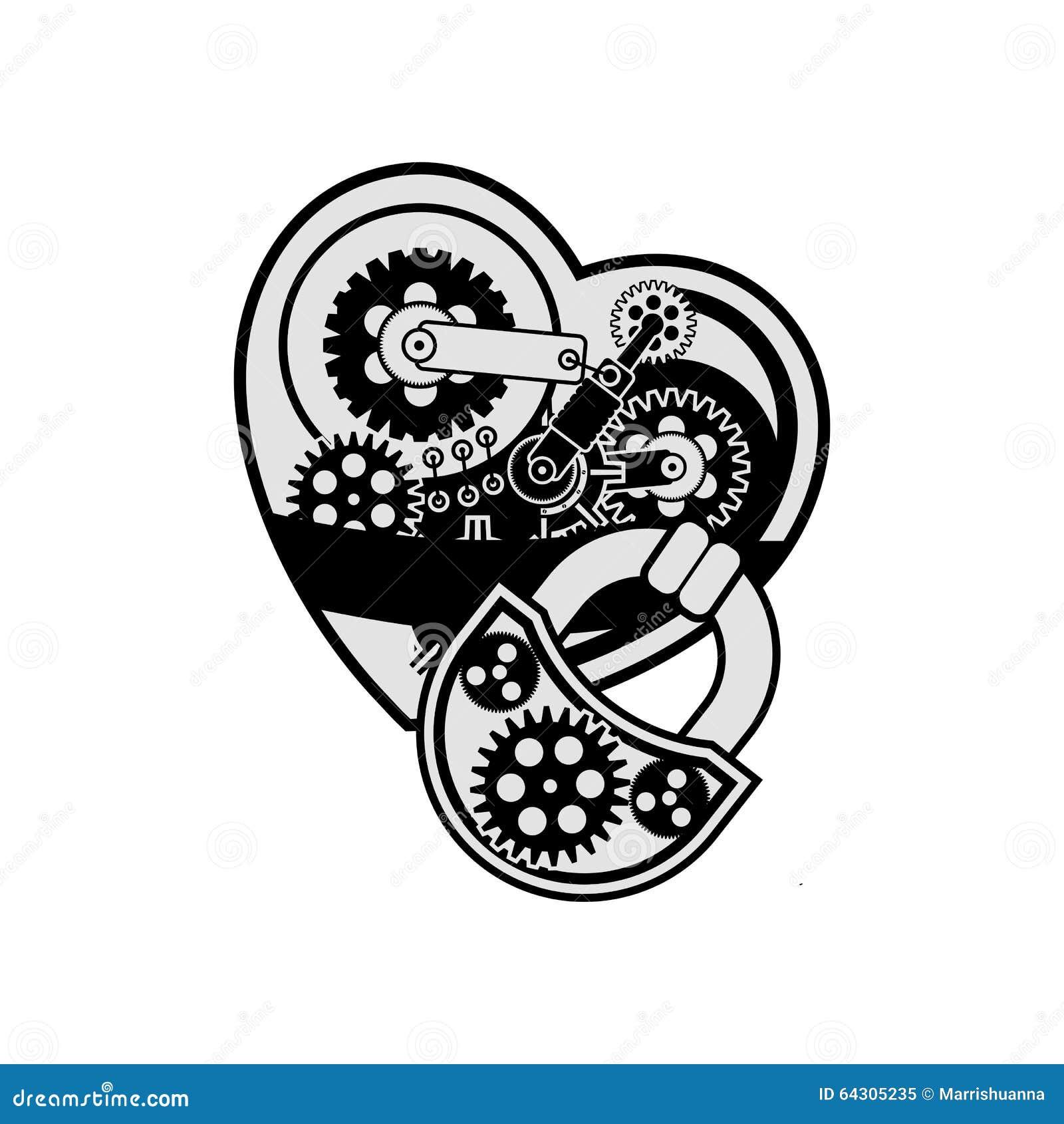 Tarjeta Del Día De San Valentín Mecánica Del Corazón Ilustración del ...