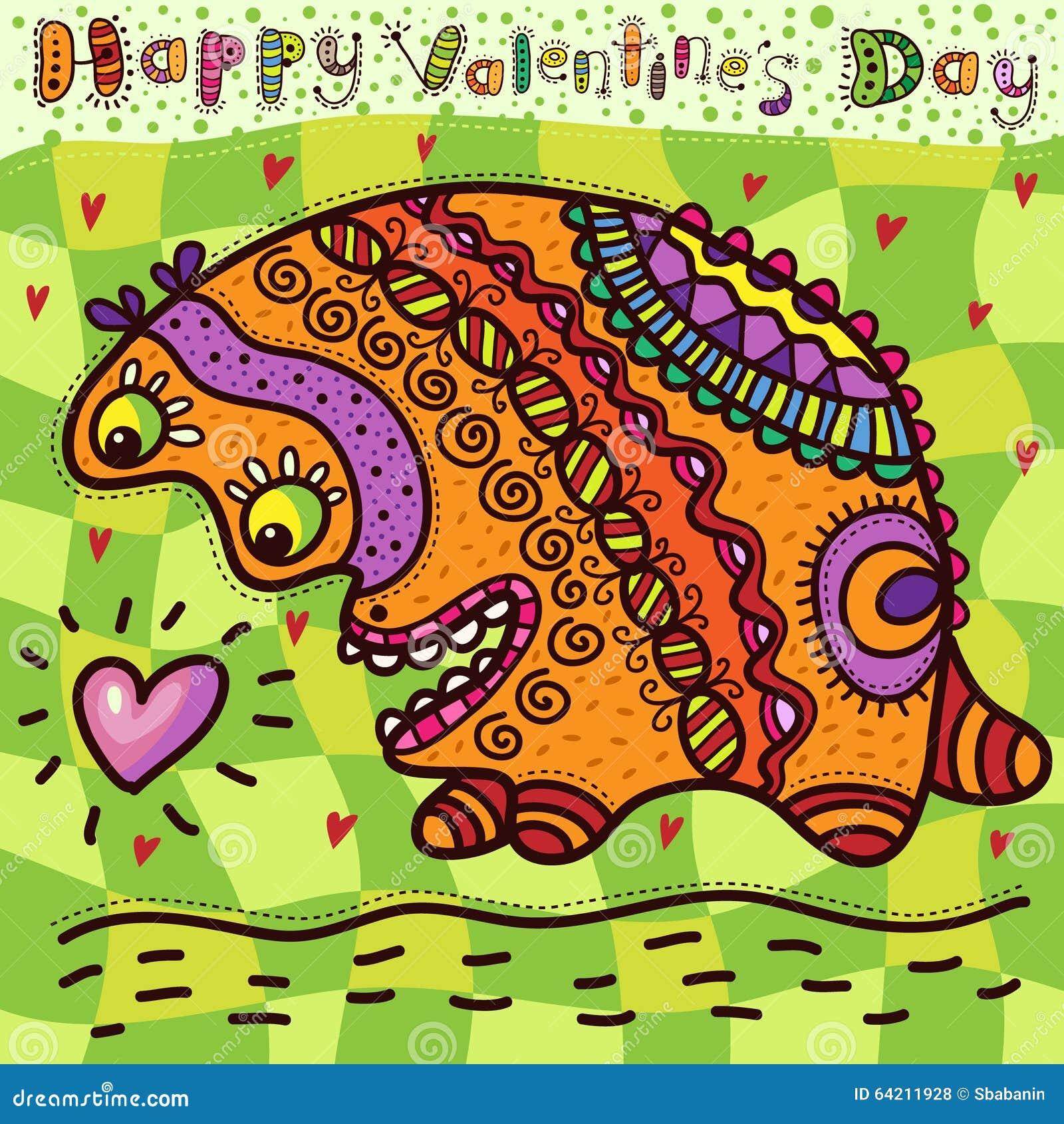 Tarjeta del día de tarjeta del día de San Valentín con el animal increíble