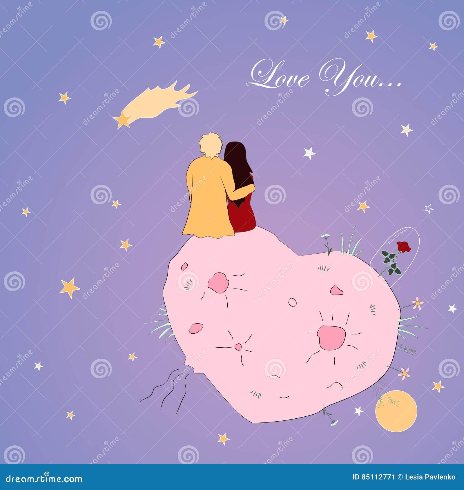 Tarjeta del día de tarjetas del día de San Valentín con los pares que miran la estrella el caer