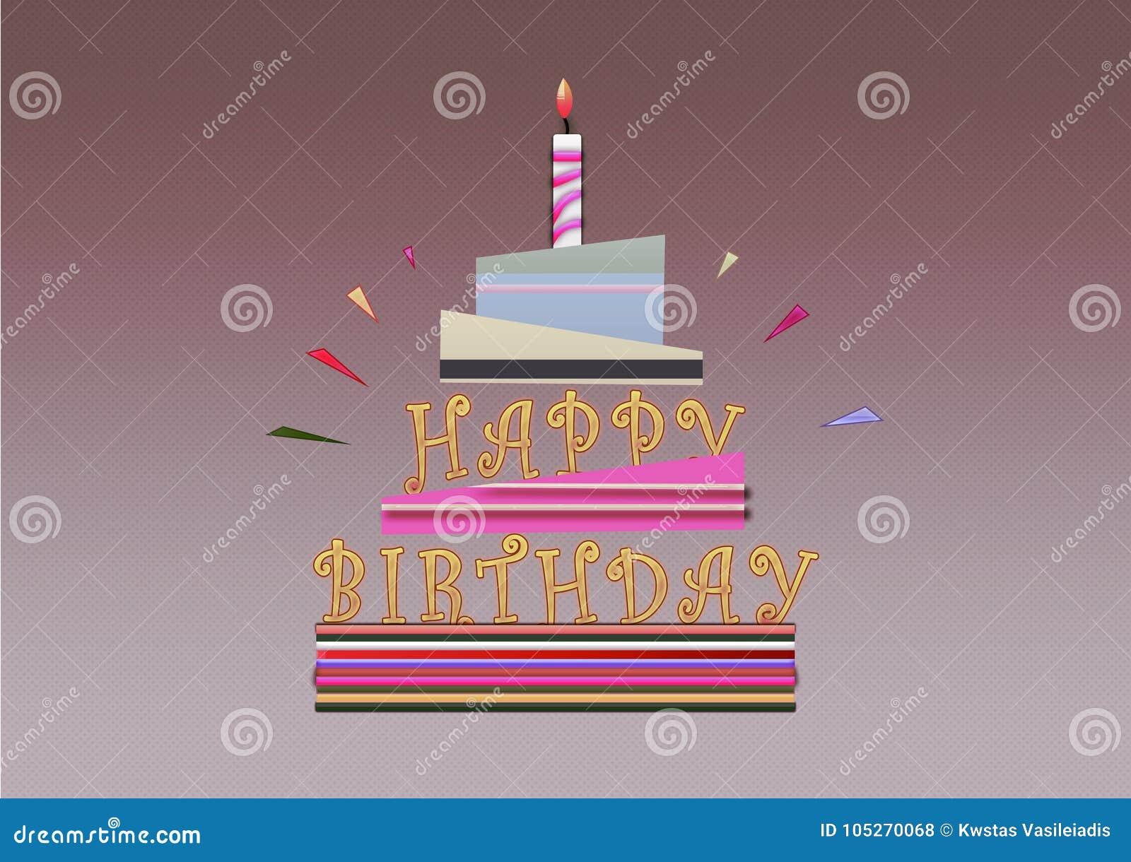 Tarjeta Del Ejemplo De La Torta Del Feliz Cumpleaños Stock de ...