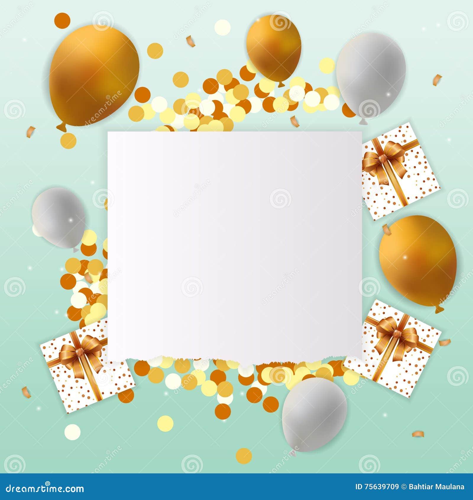 tarjeta del feliz cumpleaos con la muestra en blanco regalo deletreado