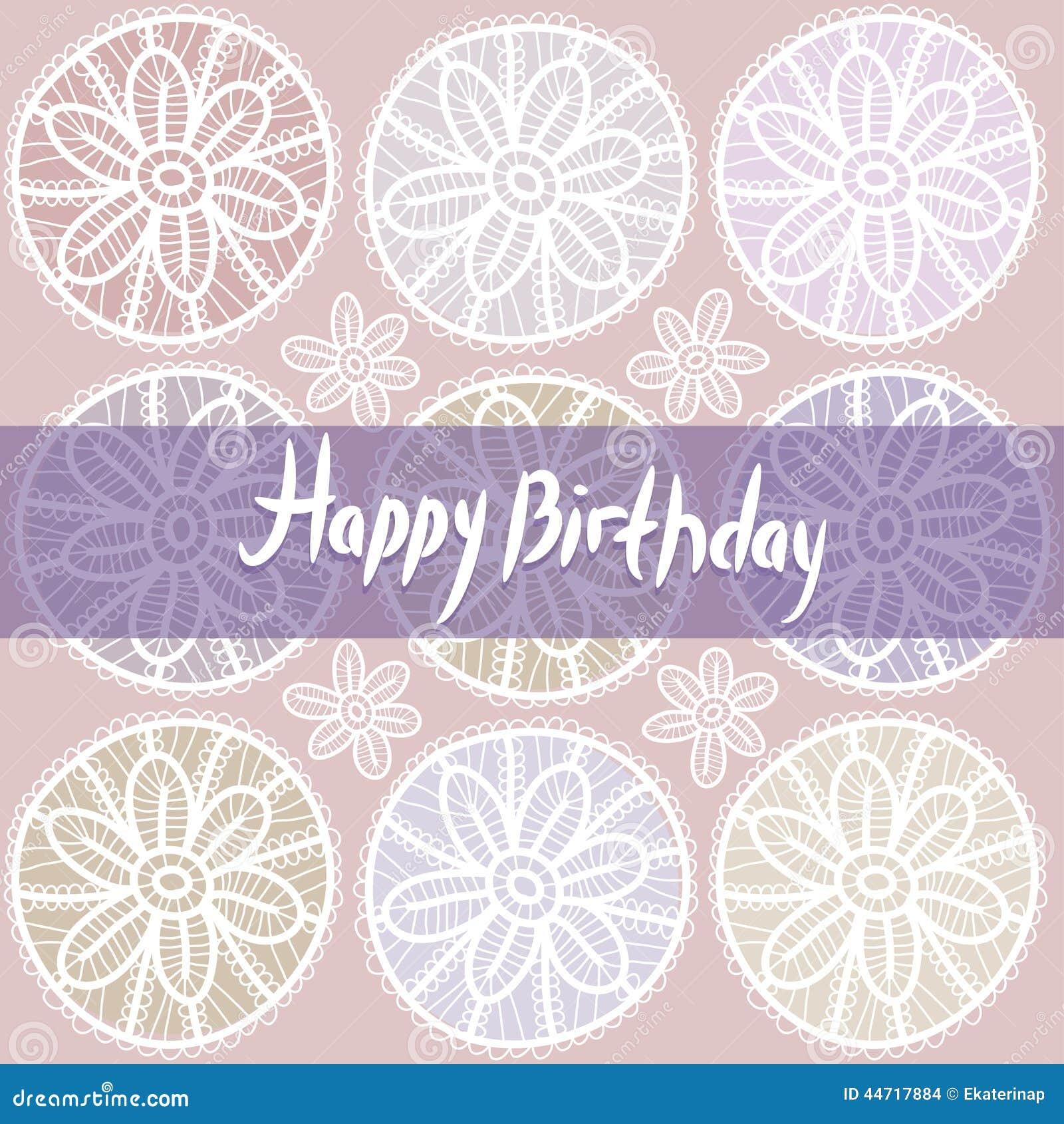 Tarjeta Del Feliz Cumpleaños Diseño Del Cordón Del Vintage Violeta ...