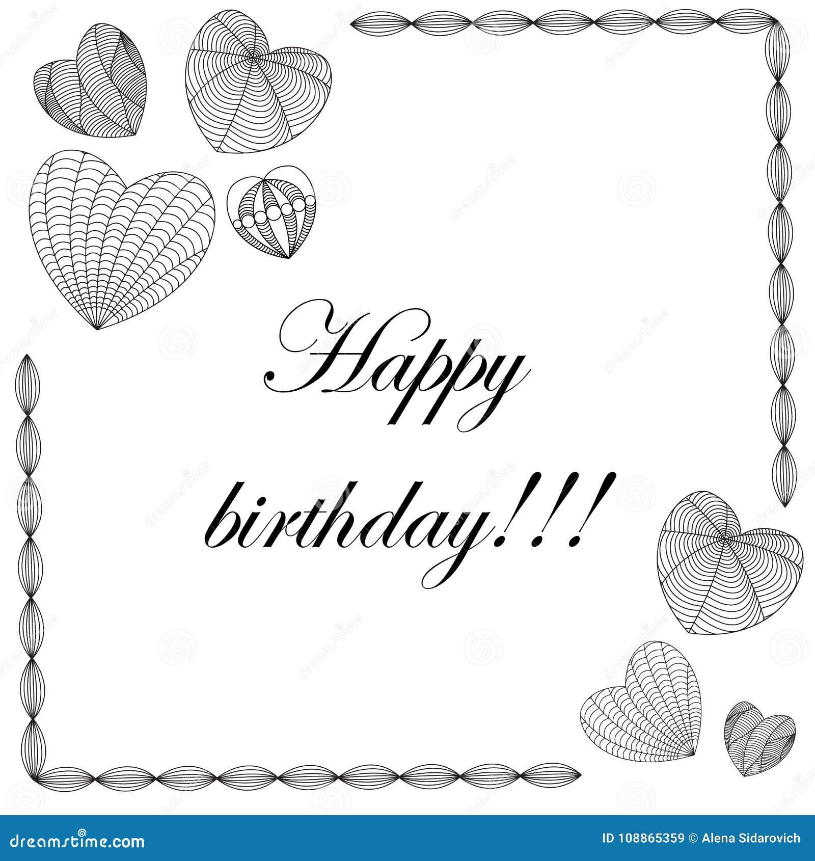 Tarjeta del feliz cumpleaños en el estilo del zenart, corazones en el fondo blanco