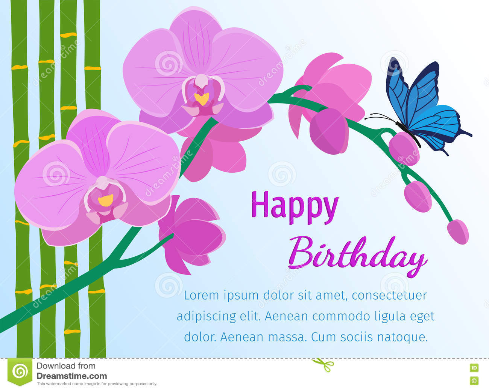 Tarjeta del feliz cumpleaños con la orquídea rosada en fondo azul Vector