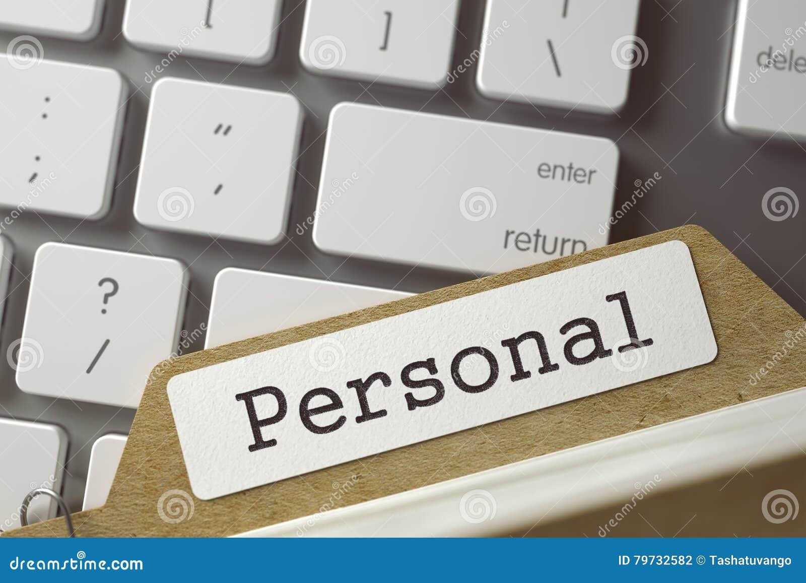 Tarjeta del fichero con la inscripción personal 3d