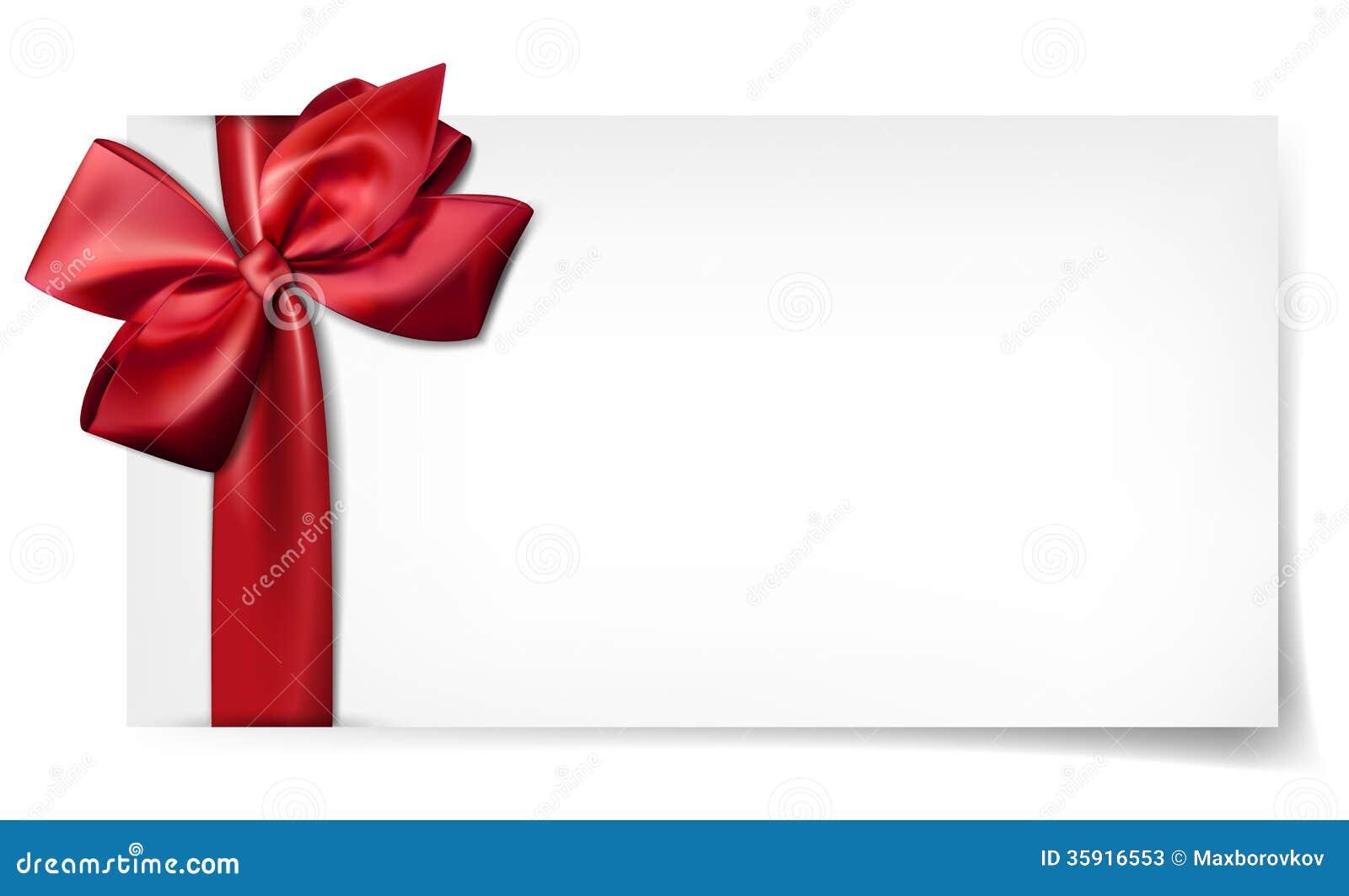 Tarjeta del libro blanco con el lazo de sat n del rojo del for In regalo gratis